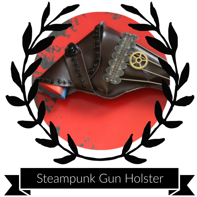 Supplies & Tools - Imitation leather gun holster (sourced from your local Halloween store)Needle & Heavy threadLong Springs–You can substitute any straight metal material here: wire, typewriter keys, or even chainMedium Grandfather clock gear (or reproduction gear)2 large jump rings (and flat nosed pliers)15-20 small Clothing Snaps1 large Clothing Snap1 Long metal pin