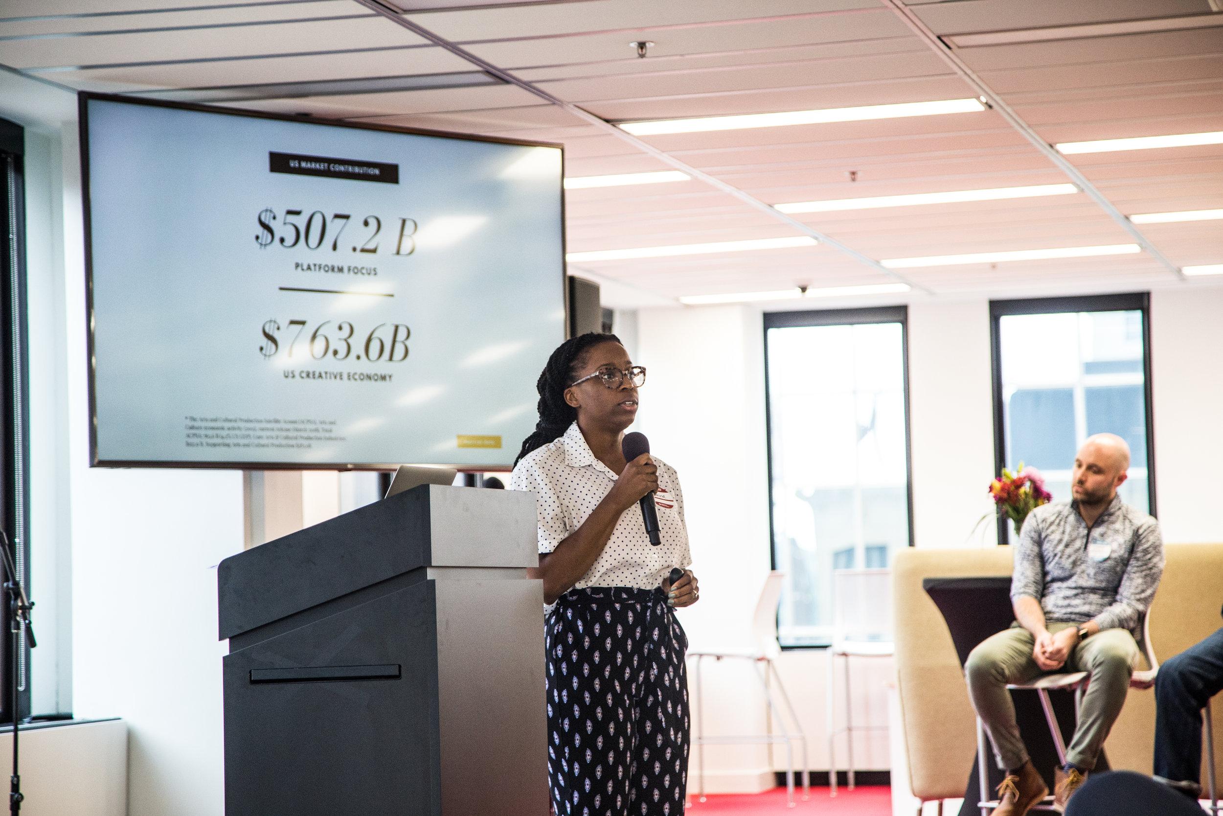 Monicat Data co-founder Jasmine Russell speaks at a Lunar Startups event.