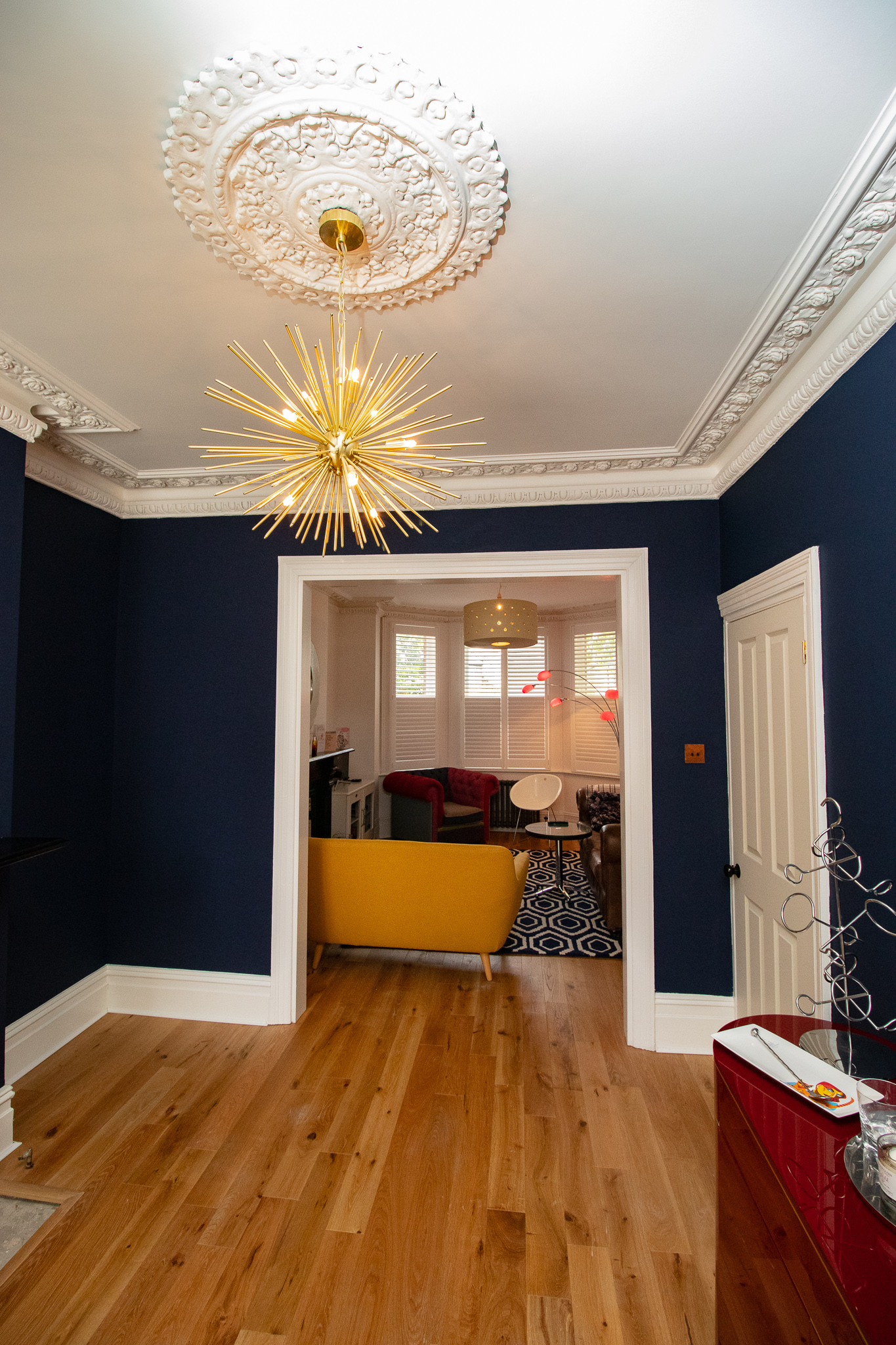 STARBURST CHANDELIER, GOLD CHANDELIER, HAGUE BLUE LIVING ROOM, STIFFKEY BLUE, BLUE ROOM.jpg