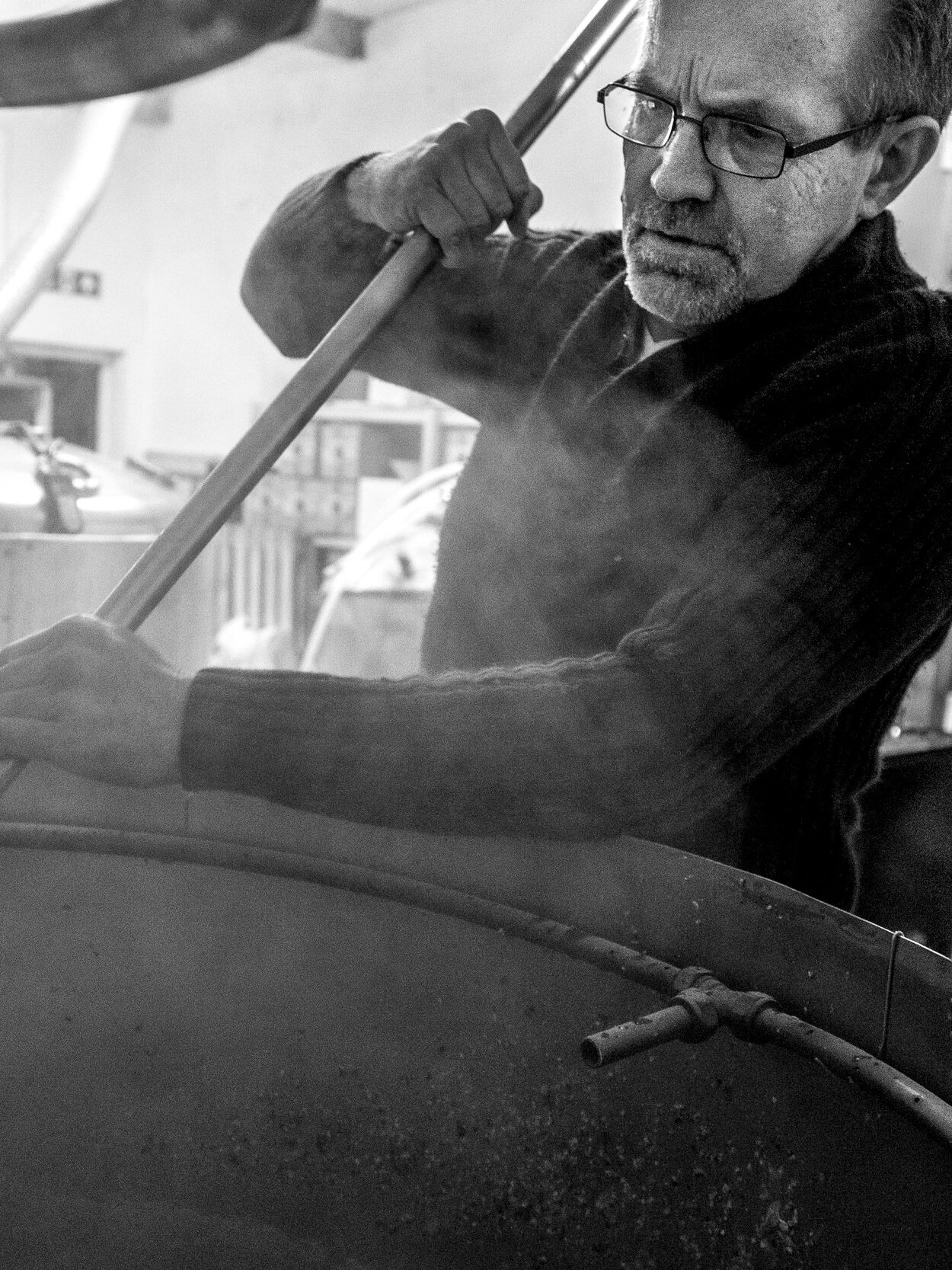 A focused Dave stirs the mash at his small Penryn Brewery   Photograph by Morgan Webb
