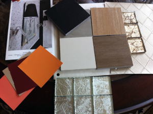 Samples of tile, paint colors, and wall coverings for Briora Ballroom Dance Studio