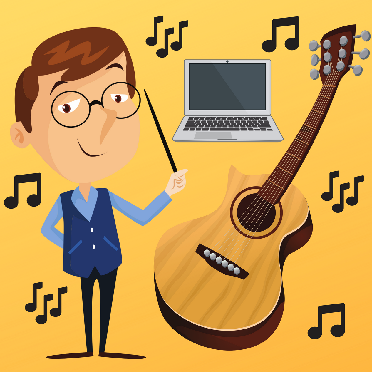 Acoustic Guitar 101 - Learn the 10% you need to know about guitar to play along with 90% of songs. The course was created for beginners, and comes with 3.5 hours of video lectures, walkthroughs, and activities. Learn everything from how to tune the guitar to how to play in all 12 keys.