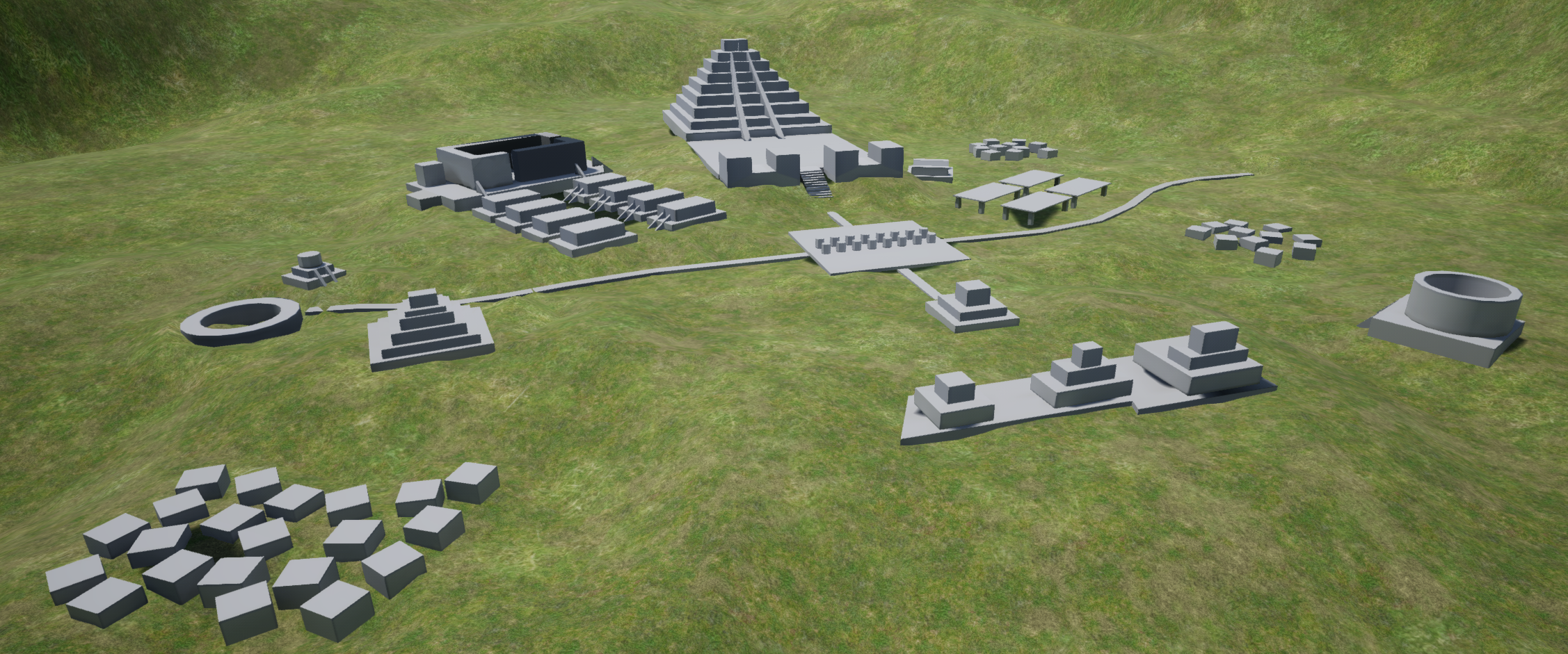 My final 3D blockout of the Mayan City.