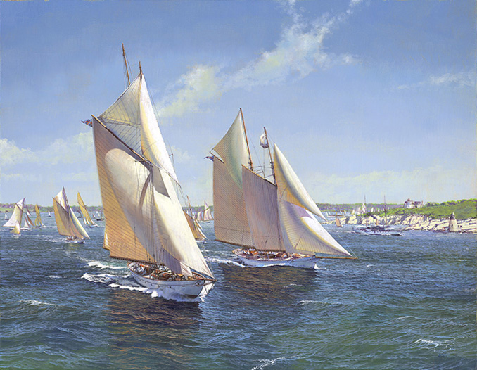 The Fleet of NYYC Leaving Newport in 1896,  2013 Oil on canvas 27 1/2 x 35 3/8 inches