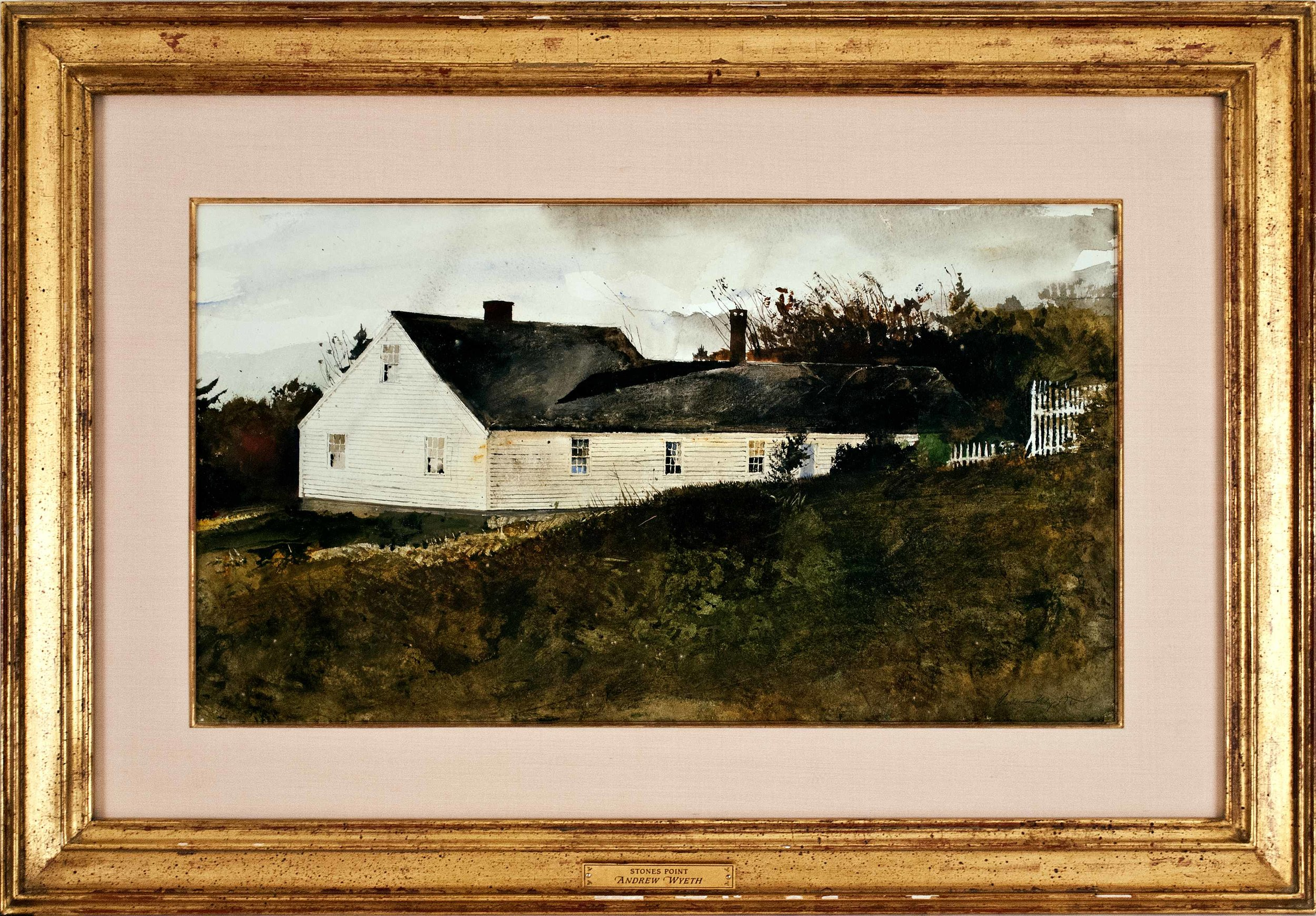 House on Stone's Point,  1977 Watercolor on paper 12 x 22 1/8 inches