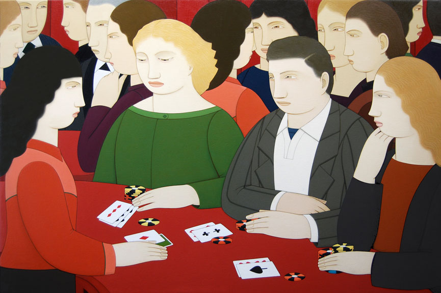Blackjack Players,  2012 Oil on linen 28 x 42 inches