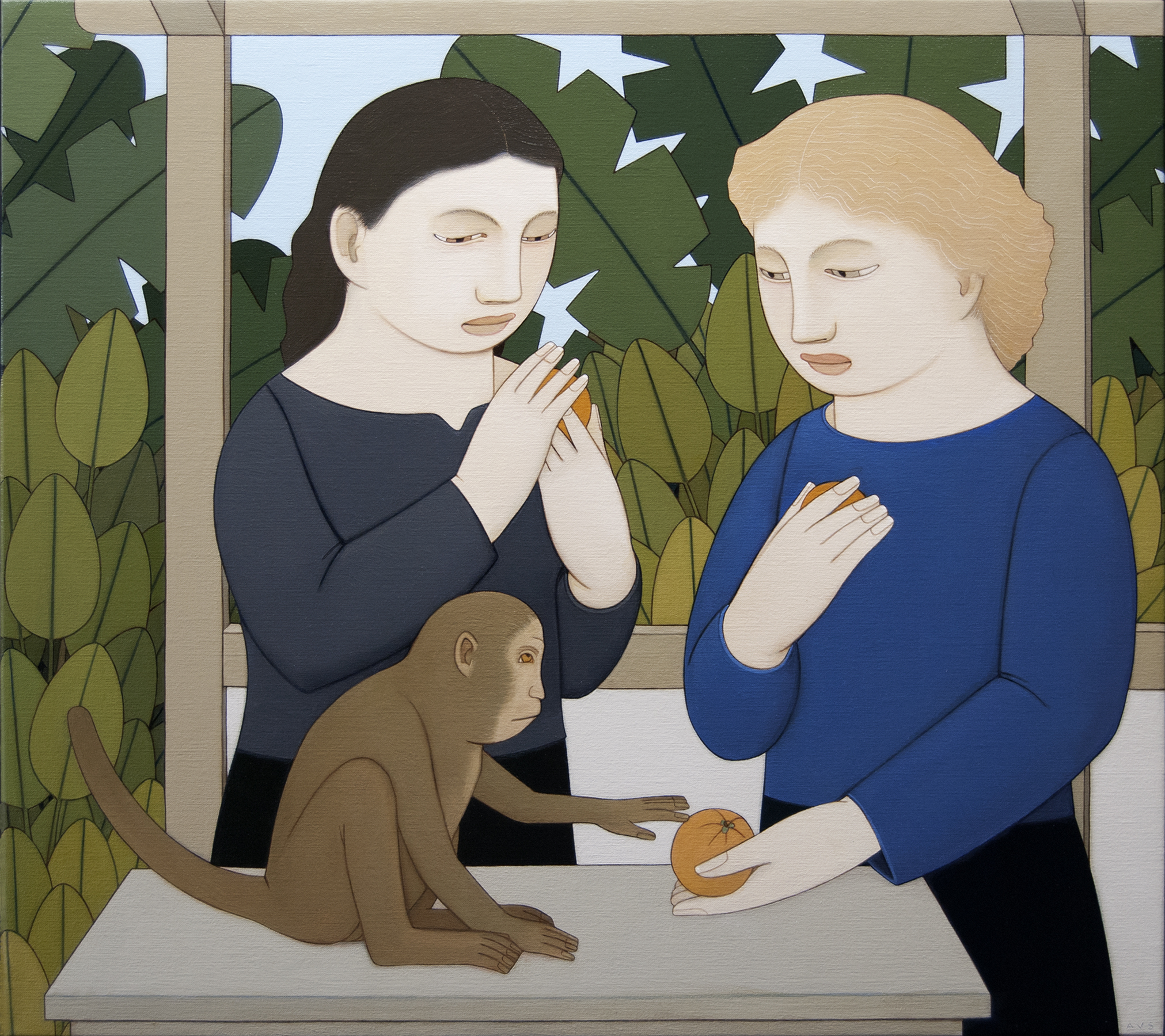 Two Women Feeding a Monkey,  2018 Oil on linen 18 x 20 inches