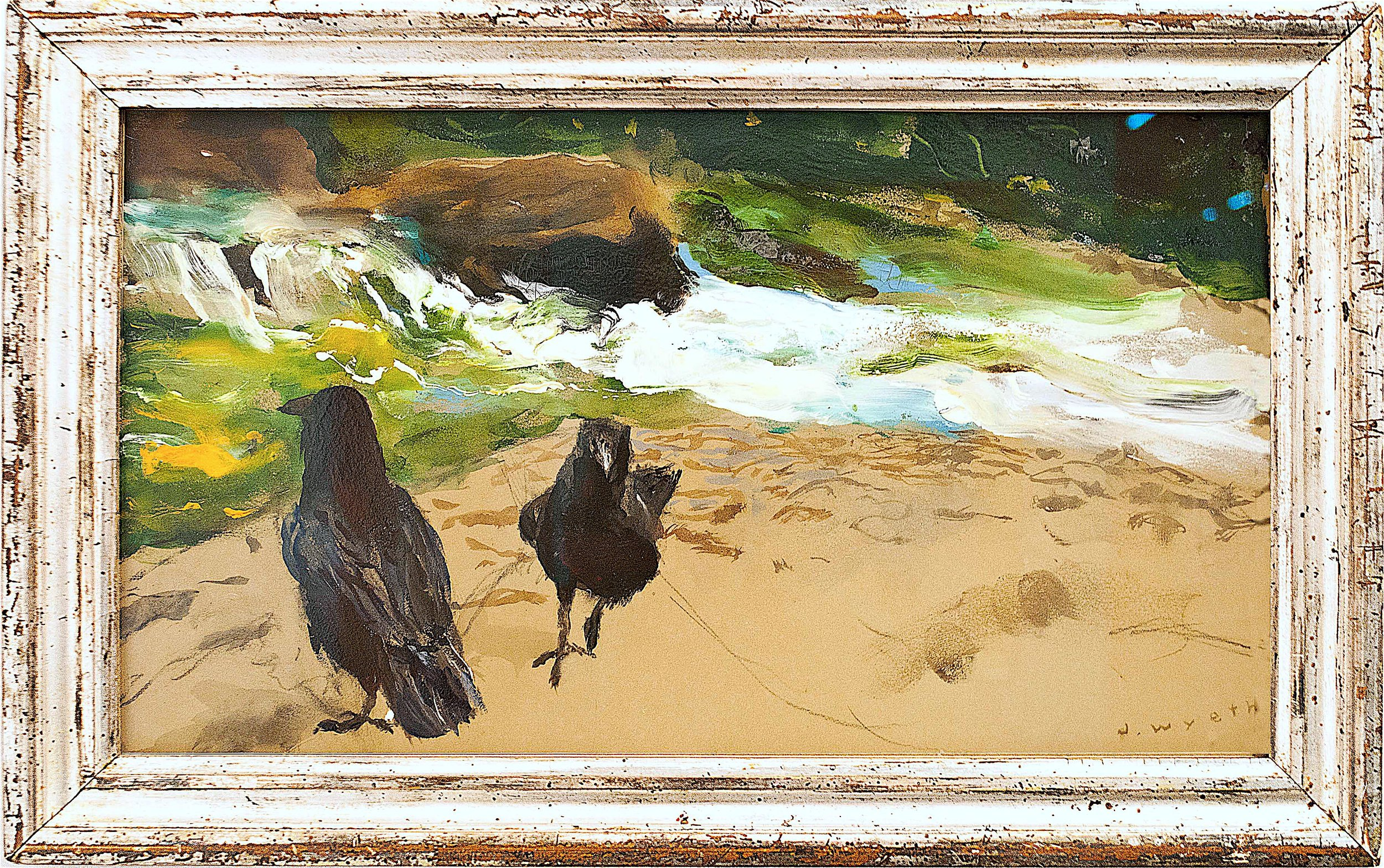Raven Pair, Brandywine,  2010 Combined mediums on archival rag board 9 1/2 x 17 inches