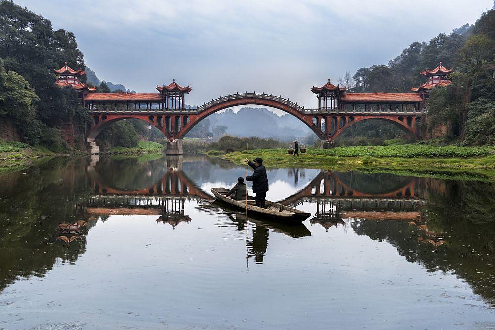 Man Rows on Min River, Leshan, China, ed. 1/10,  2016   FujiFlex Crystal Archive Print 40 x 60 inches