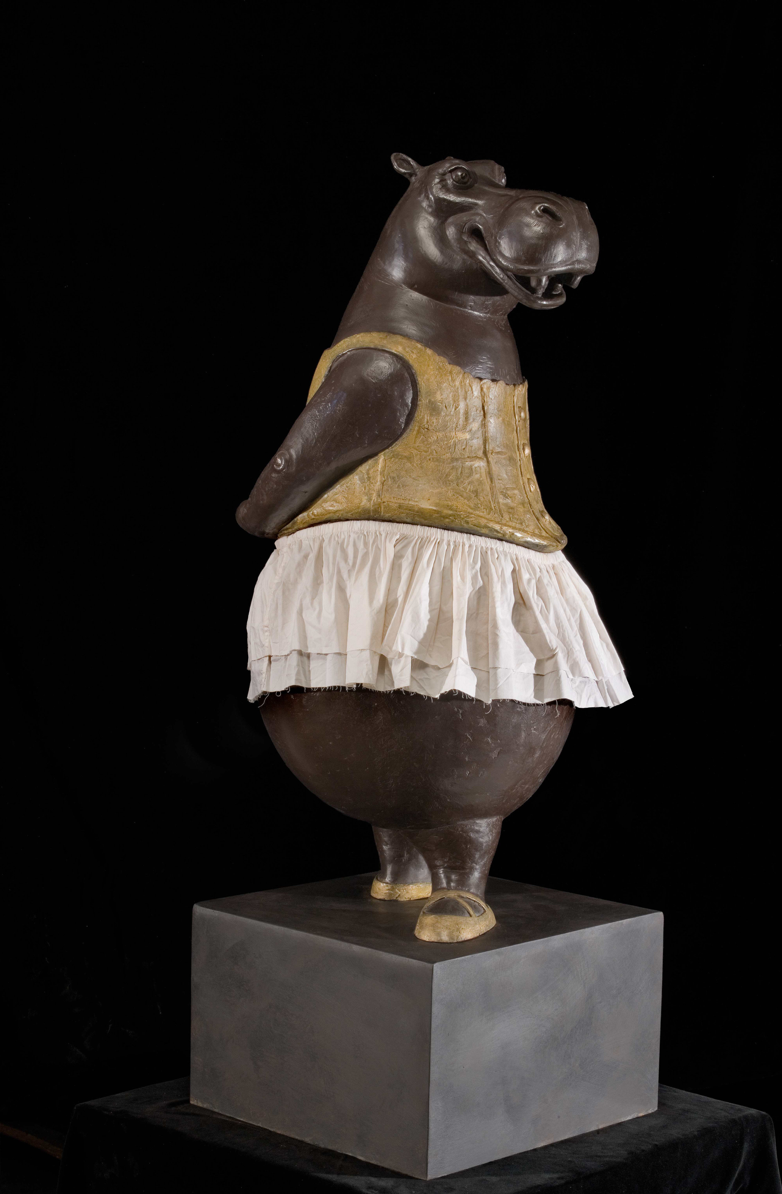 Hippo Ballerina, Fourth Position, AP 1/3,  2015 Bronze with fabric skirt 46 x 20 x 20 inches