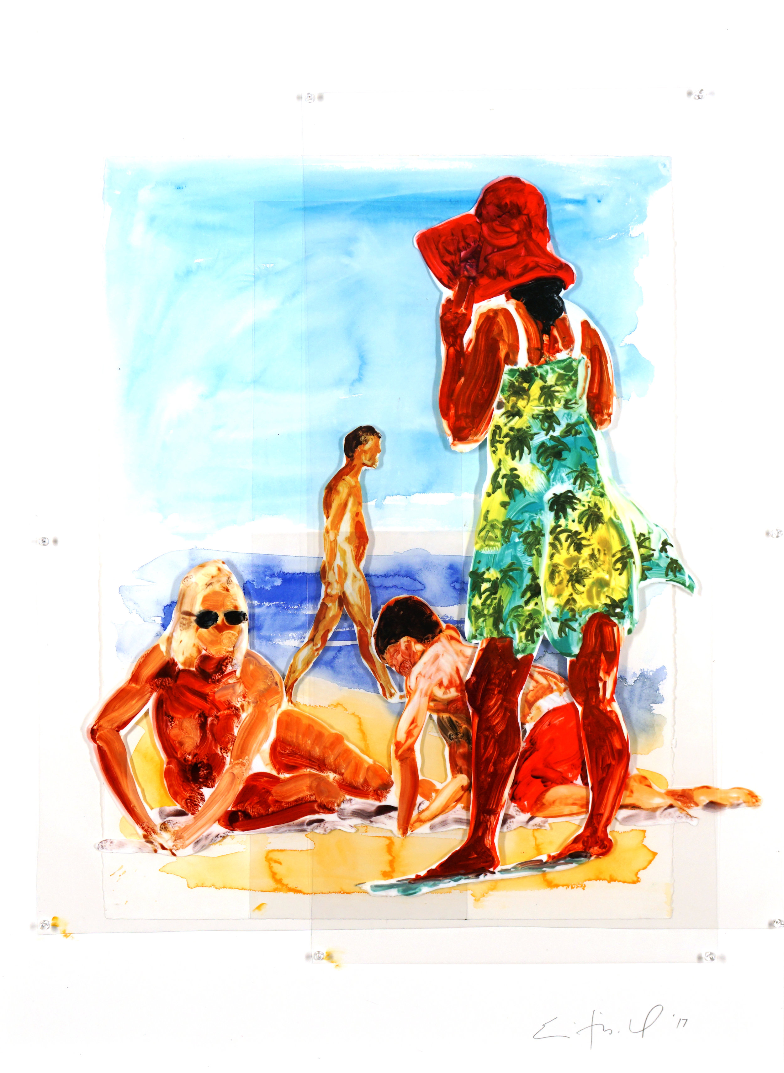 Two Women and Boy, ed. 6/9,  2017 Pinned Mylar 41.5 x 32.5 inches