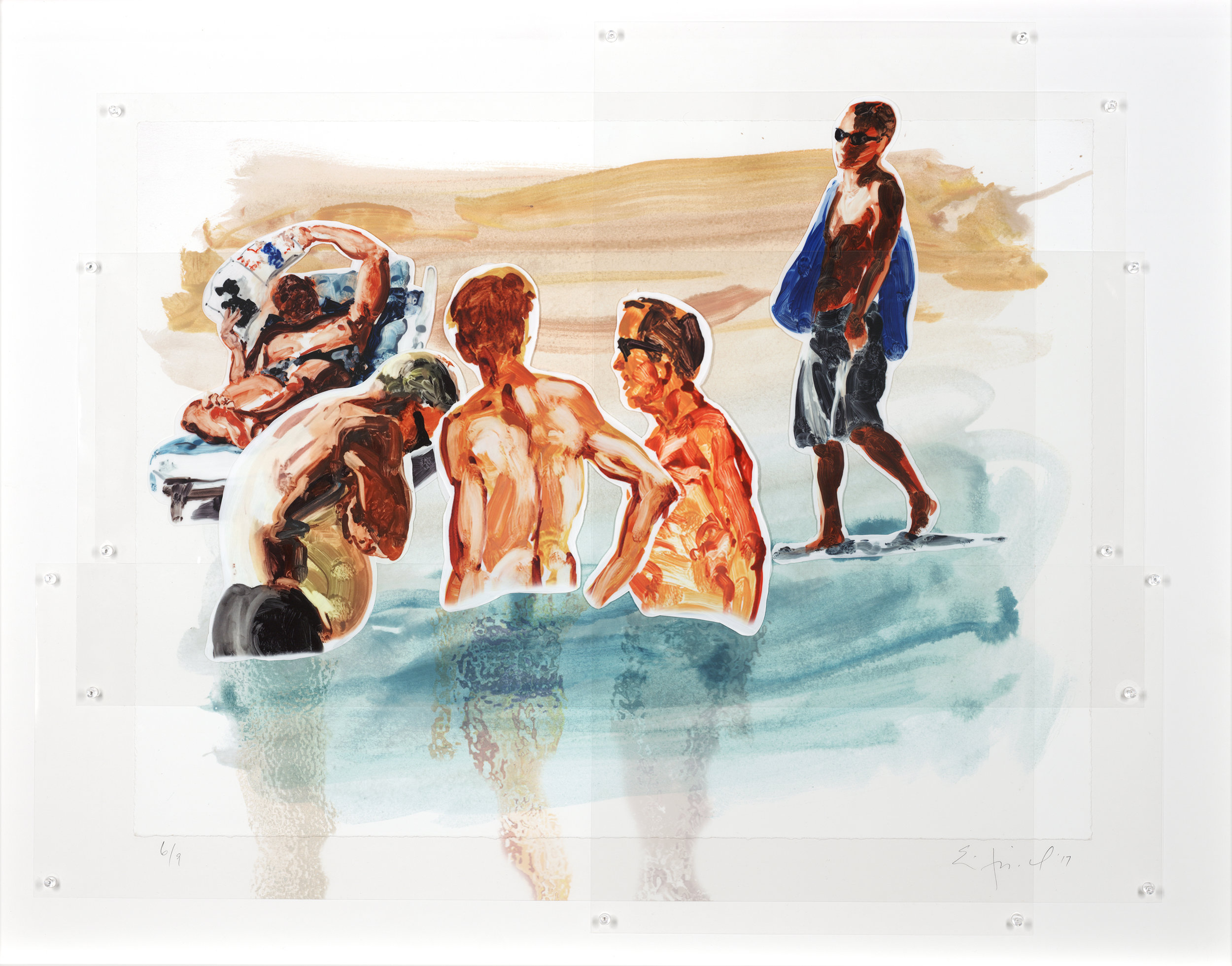 Men in Water, ed. 6/9,  2017 Pinned Mylar 32.5 x 41.5 inches