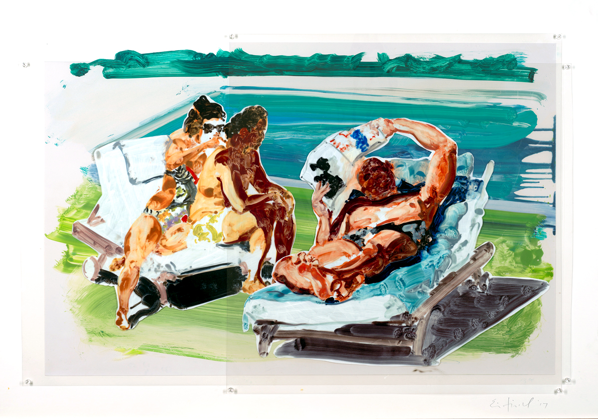 Poolside Loungers, Trial Proof,  2018 Pinned Mylar 65 x 90.5 inches