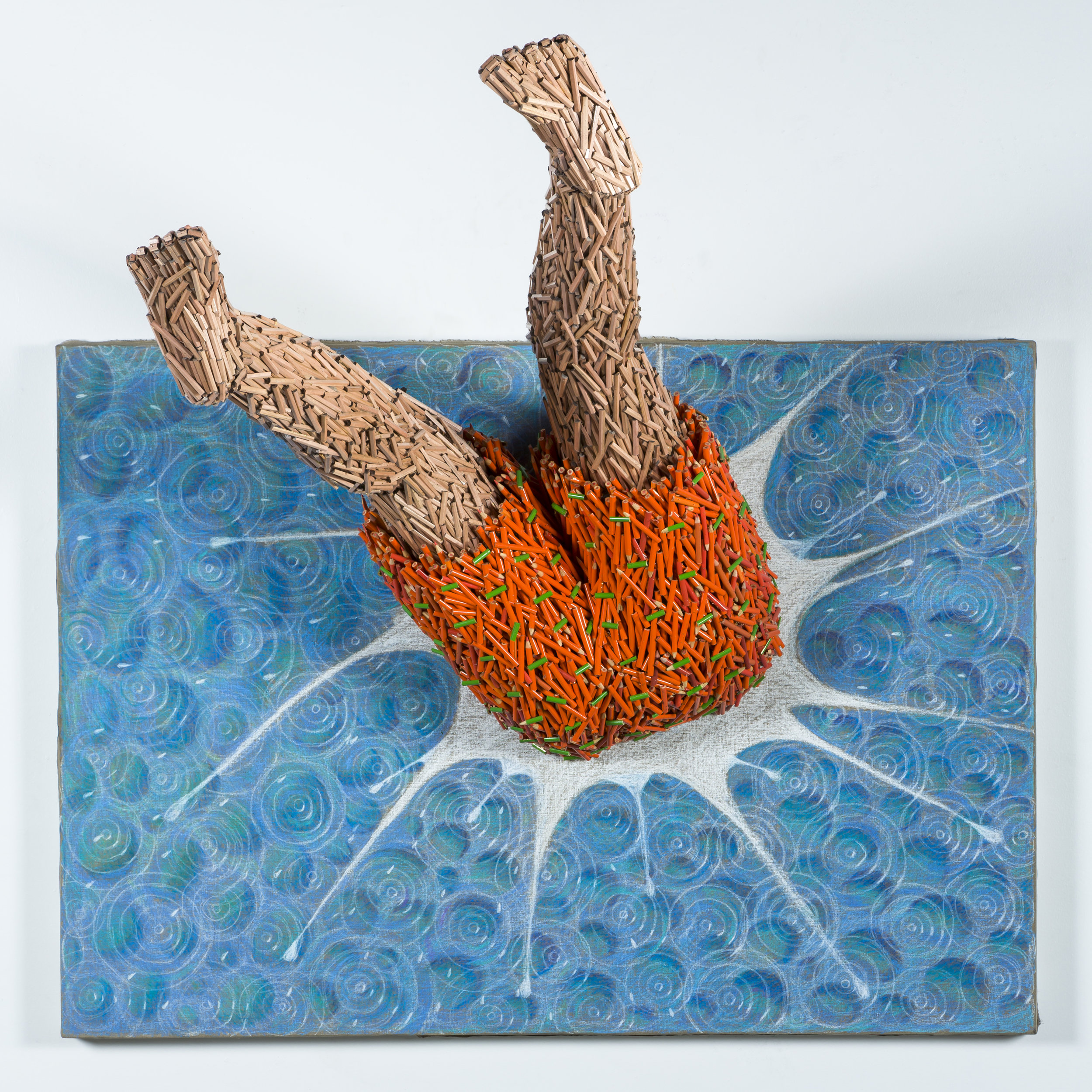 Splash , 2014 Colored pencil collage and drawing 45h x 52w x 38d inches