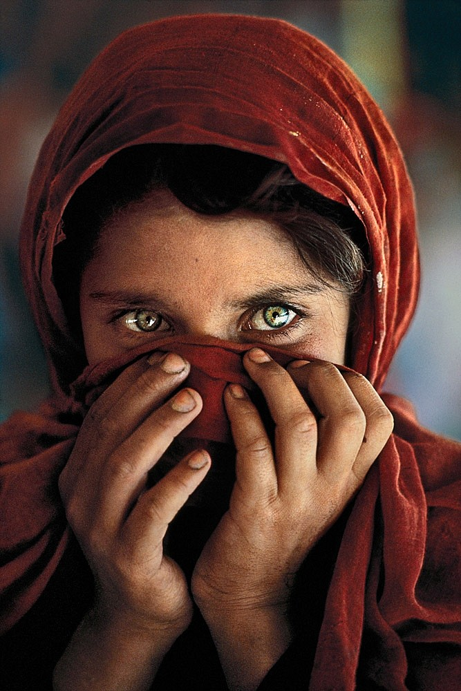 Afghan Girl with Hands on Face,  1984 FujiFlex Crystal Archive Print 40 x 30 inches