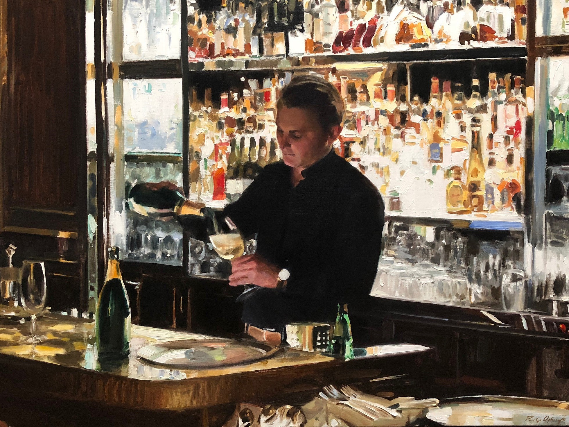 Bar 228, Paris,  2018 Oil on linen 36 x 48 inches