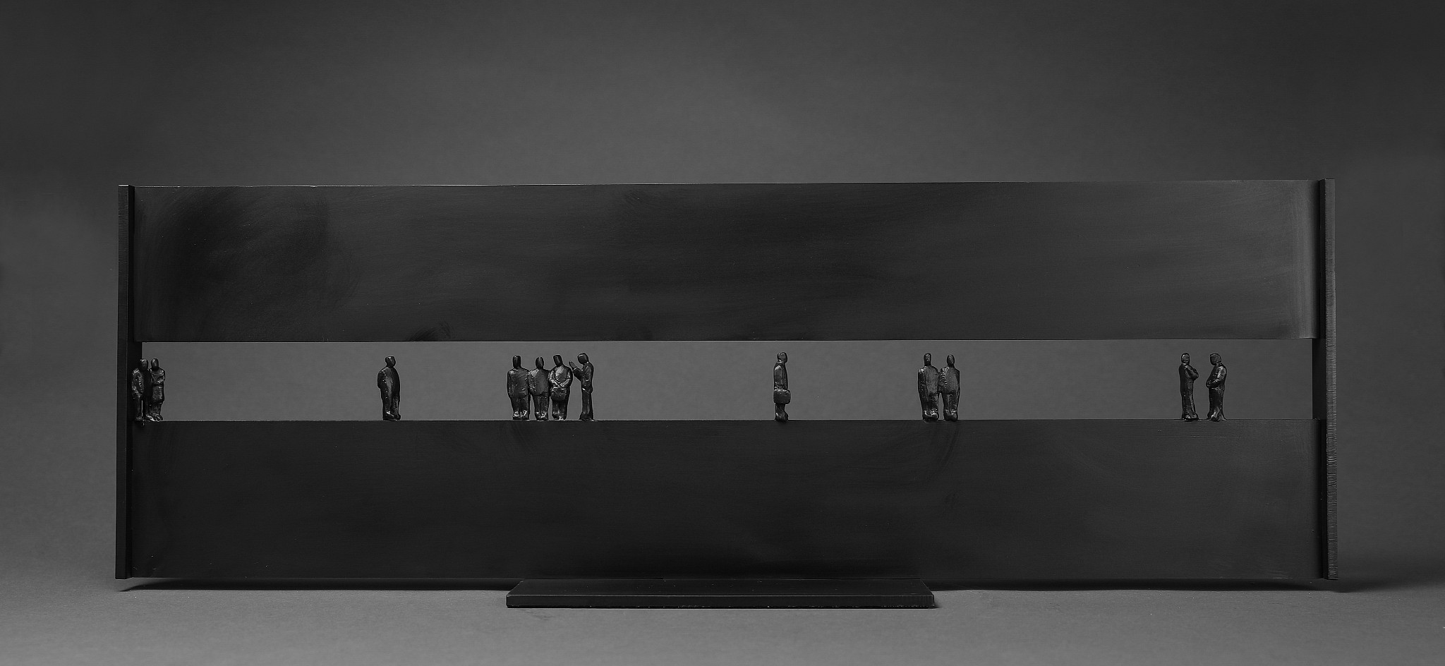 In Transit II, ed. 1/9,  2018 Bronze and steel 10 x 30 x 6 inches