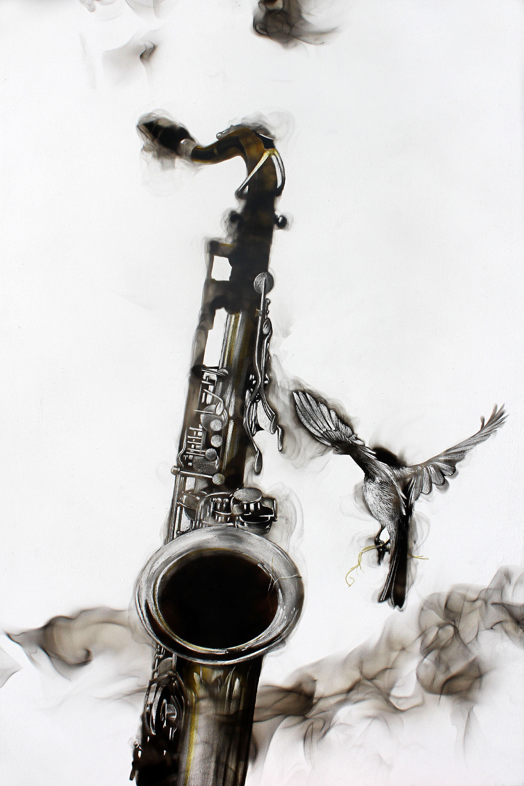 Smoky Saxophone,  2015 Fumage on panel 30 x 20 inches
