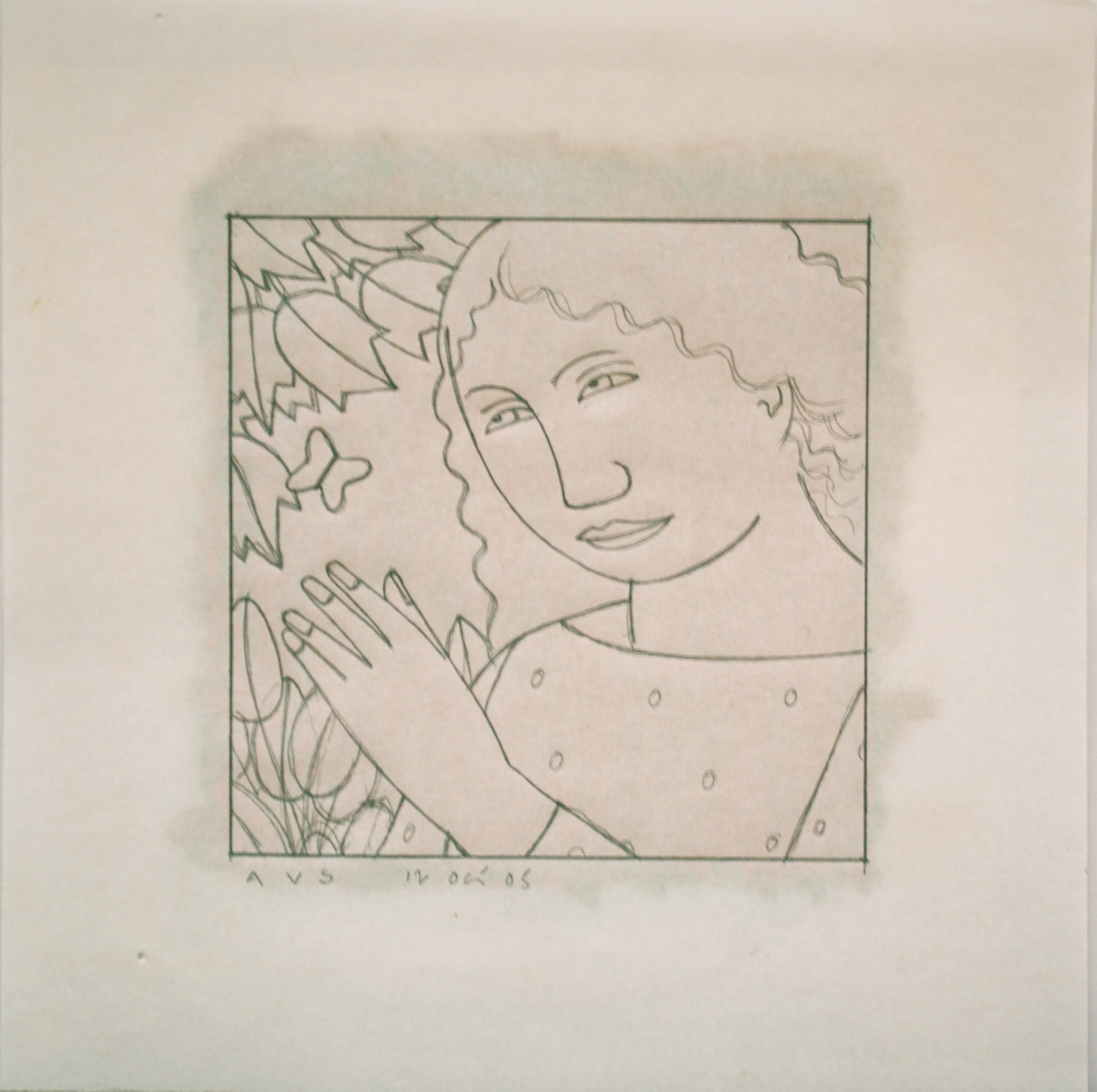 A Woman with a Butterfly,  2005 Pencil on graph paper with pastel on reverse 5 x 5 inches