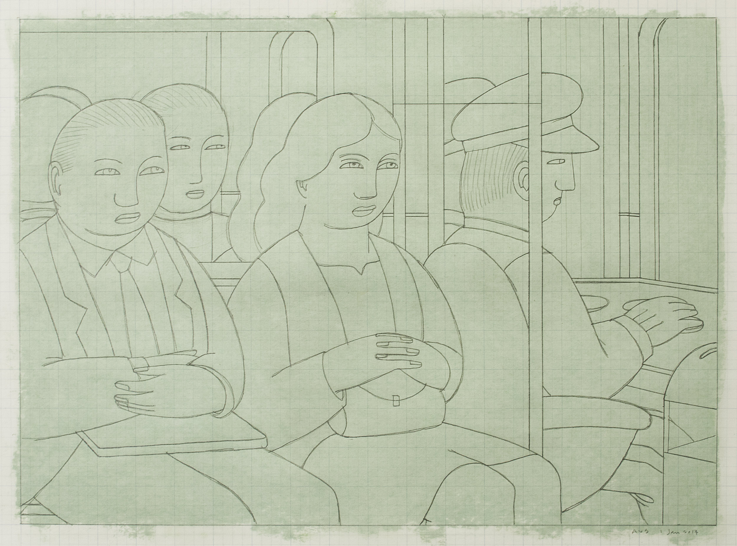 Subway Riders (drawing #4) ,  2014 Pencil on graph paper with pastel on reverse 13 x 18 inches