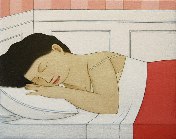 Loretta Sleeping ,  2013 Oil on linen 8 3/8 x 10 inches