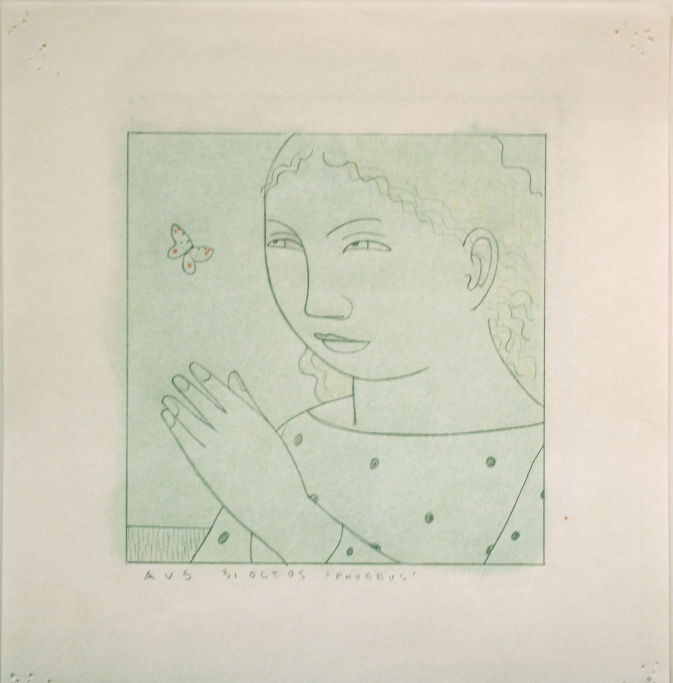 "Phoebus, Study for ""Woman with Butterfly"",  2005 Pencil on graph paper with pastel on reverse 5 x 5 inches"