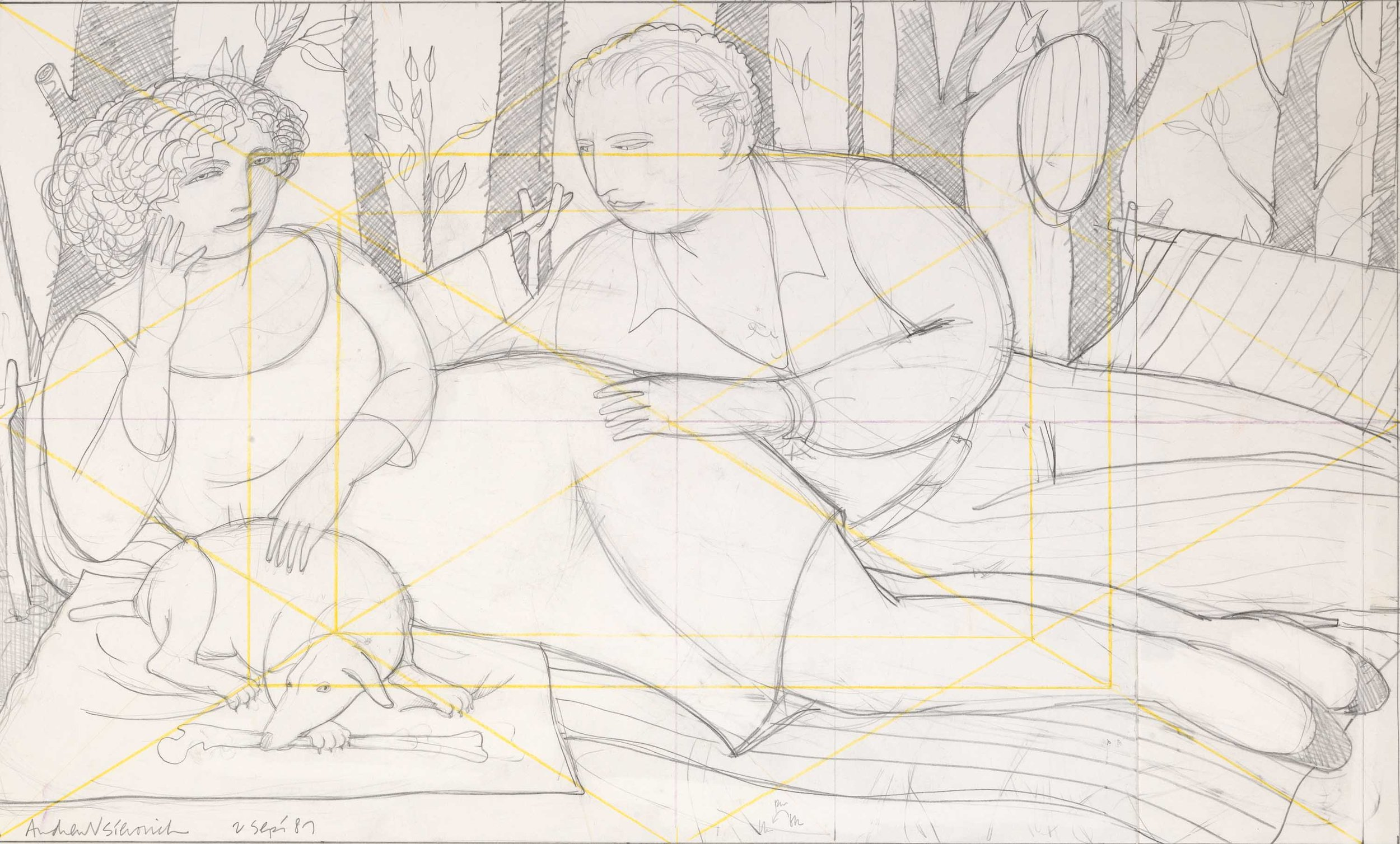 Study for Autumn Leaves ,  1987 Pencil on paper 11 7/8 x 19 7/8 inches
