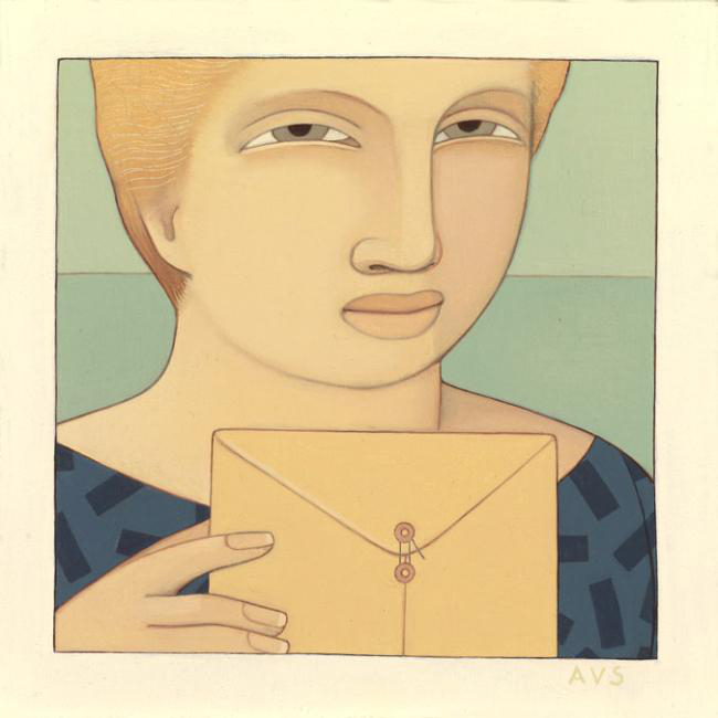 Woman with Envelope ,  1990 Oil on linen 4 1/2 x 4 1/2 inches
