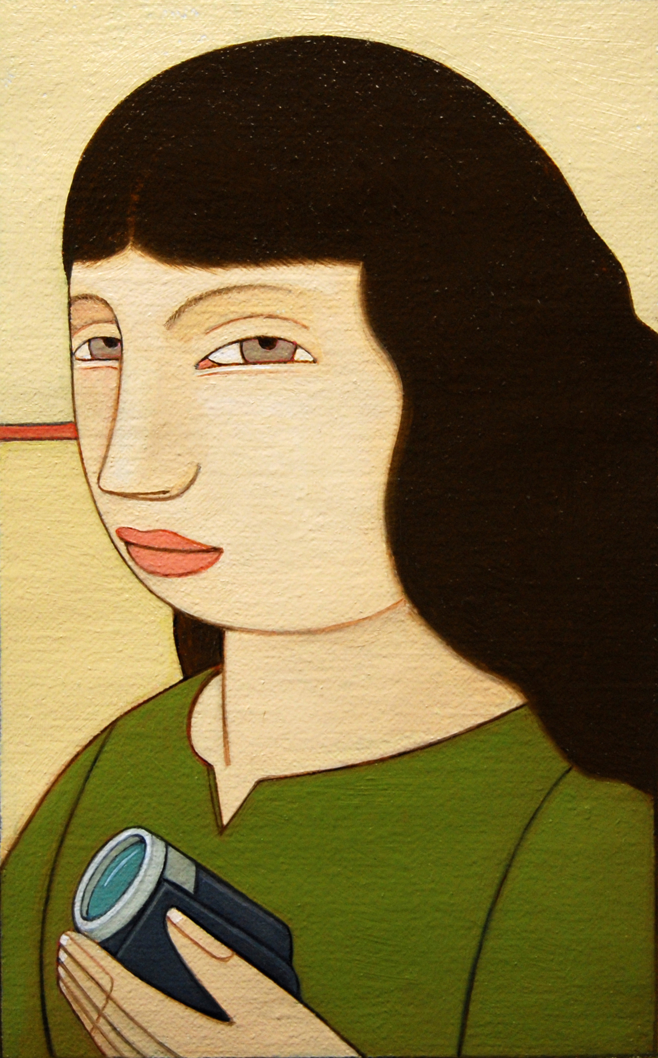 Woman with Camcorder ,  2013 Oil on linen 6 x 3 3/4 inches
