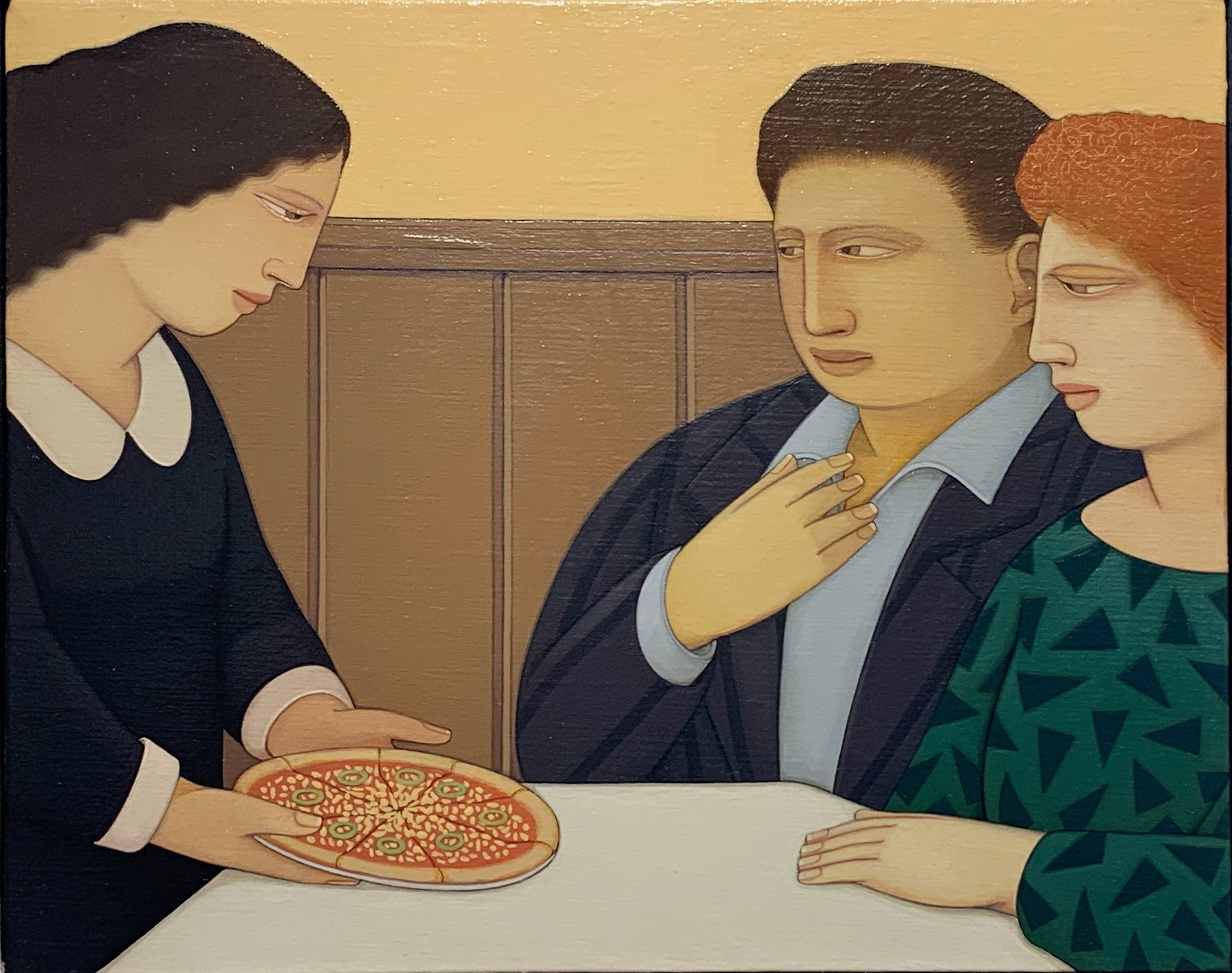 Pizza Umberto ,  1989 Oil on linen 7 x 10 inches