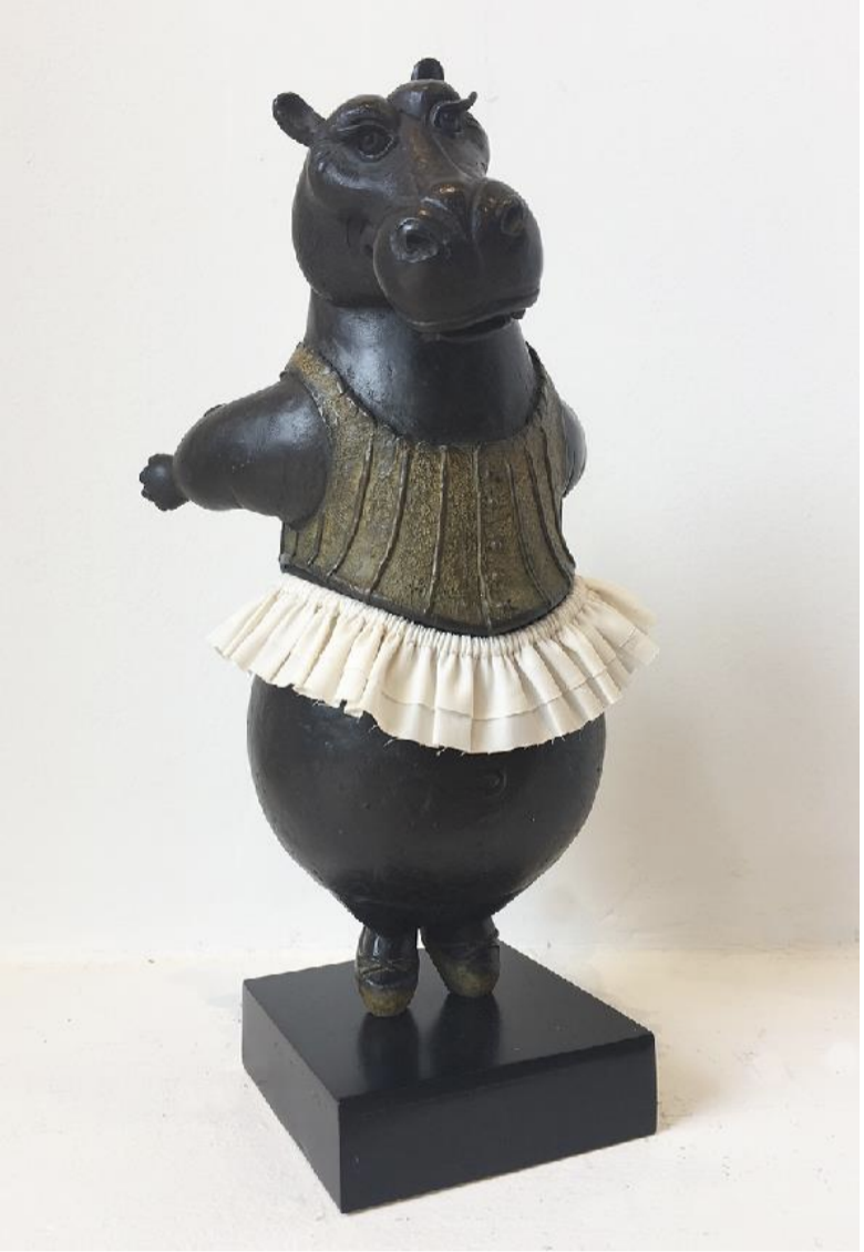 Hippo Ballerina, tiptoe, maquette, AP 2 (final edition),  2019 Bronze with fabric skirt 10 1/2 x 5 1/2 x 5 inches