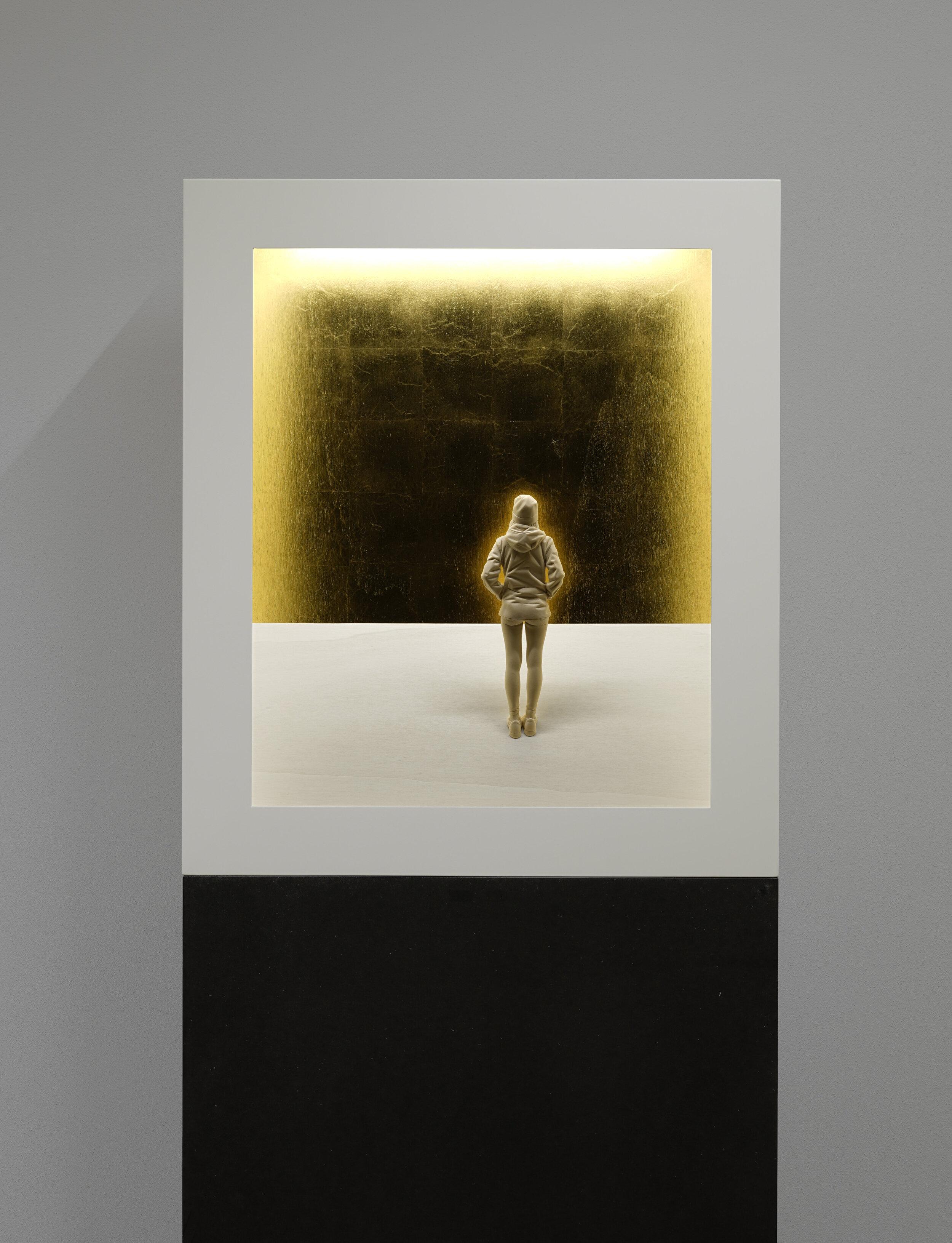 Aura 1,  2019 Linden wood, acrylic paint, gold leaf, LED light 27 1/2 x 23 1/2 x 8 inches