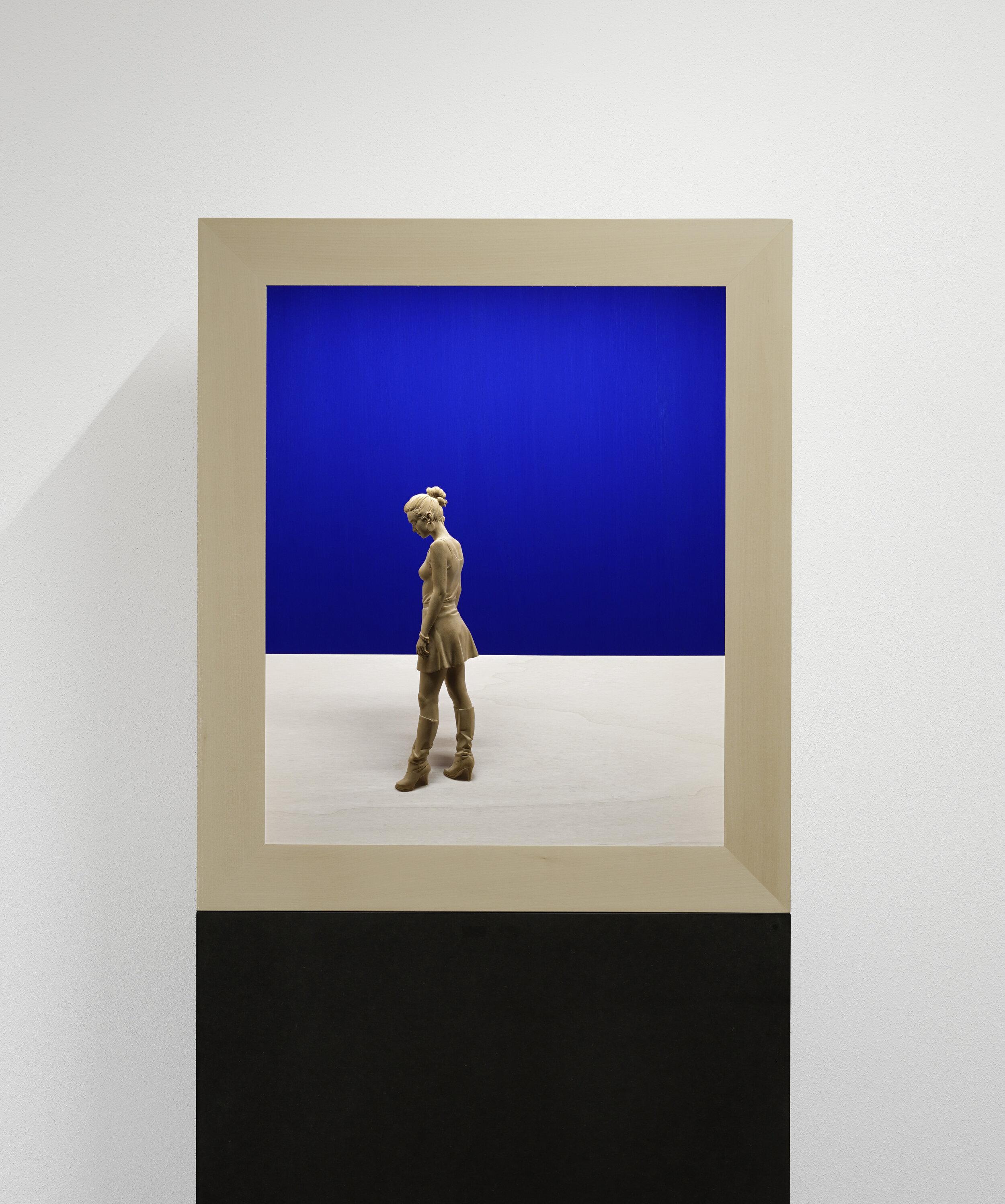 Walking Girl,  2019 Linden wood, acrylic paint, LED light 27 1/2 x 23 1/2 x 8 inches