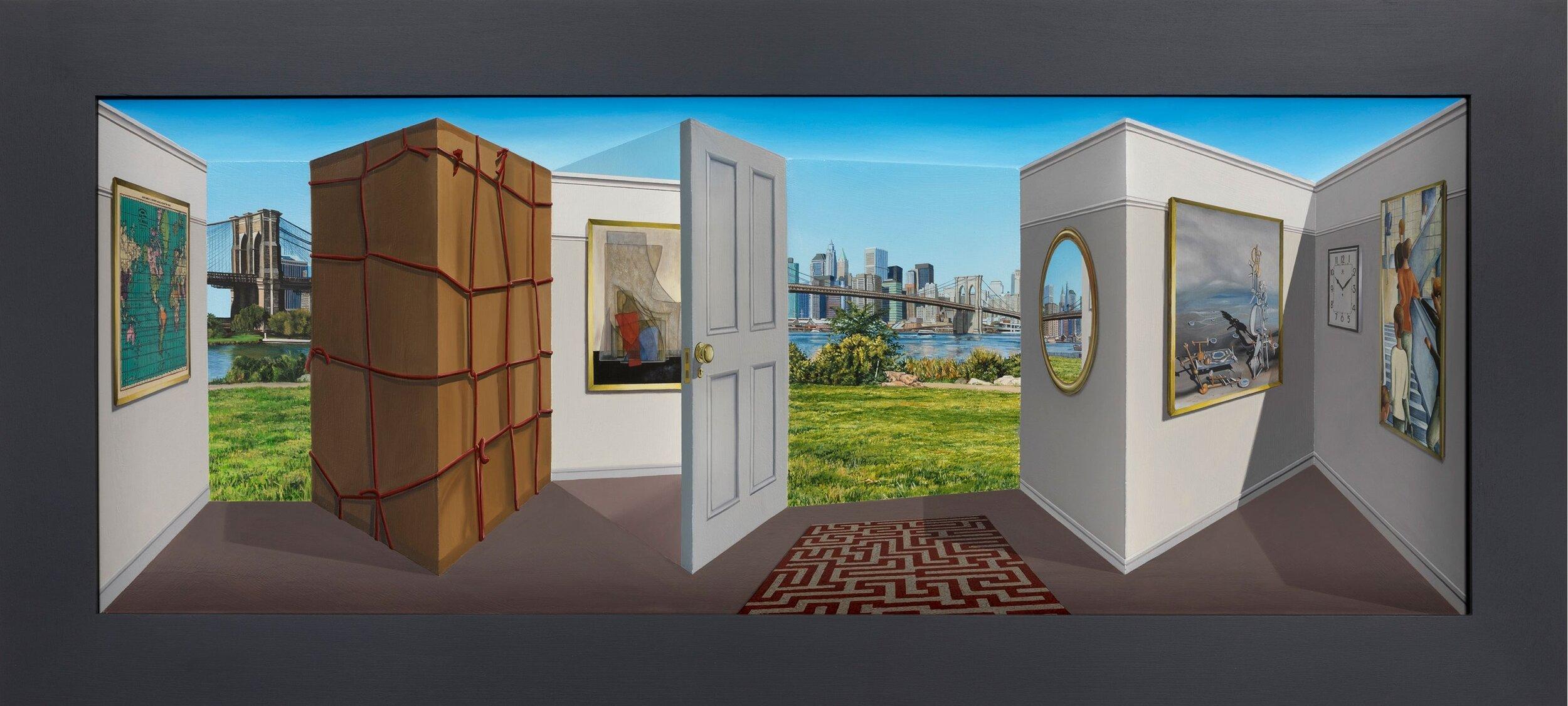 A Cardboard Box,  2019 Oil on board construction 22 1/2 x 53 3/4 x 5 3/4 inches