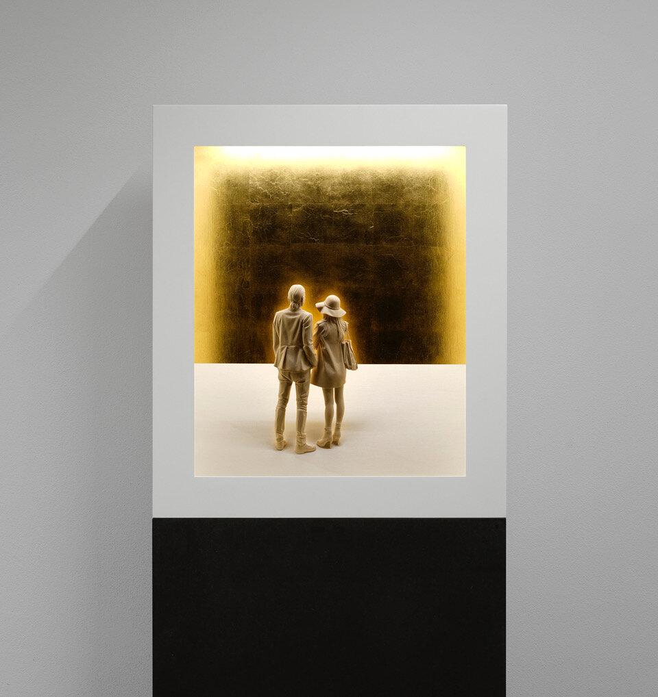 Aura 2,  2019 Linden wood, acrylic paint, LED light 45 1/4 x 39 1/2 x 11 3/4 inches