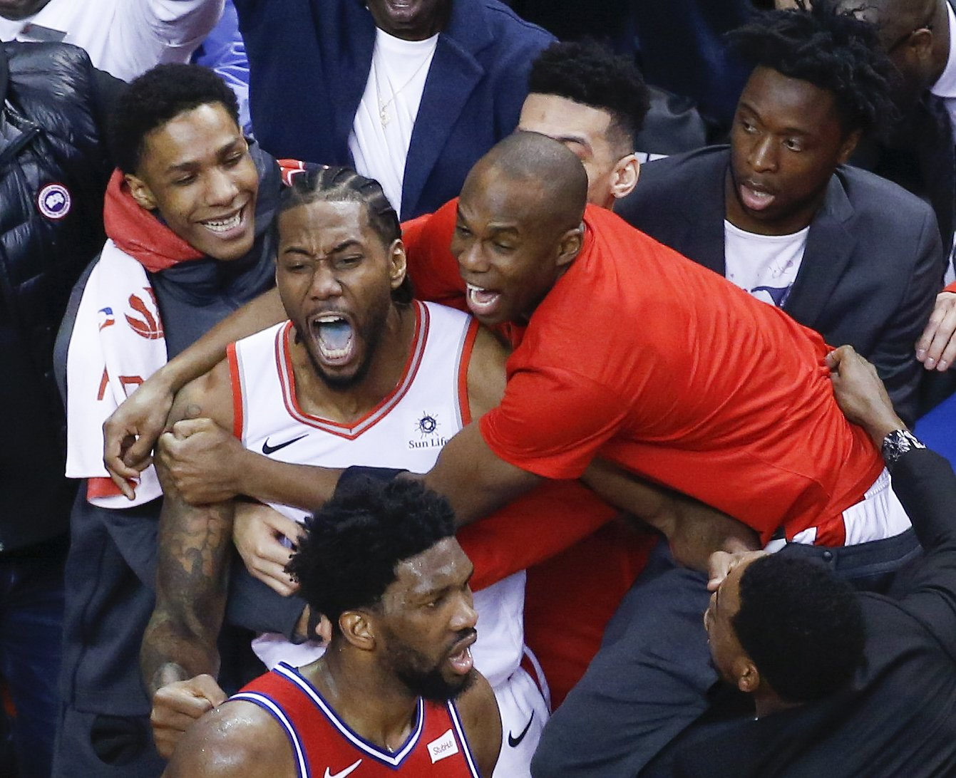 Emotions were running high on both sides. Kawhi actually roared after hitting the game winner. It's almost weird to see him in the moment erupt like that. He is killing it New Balances.