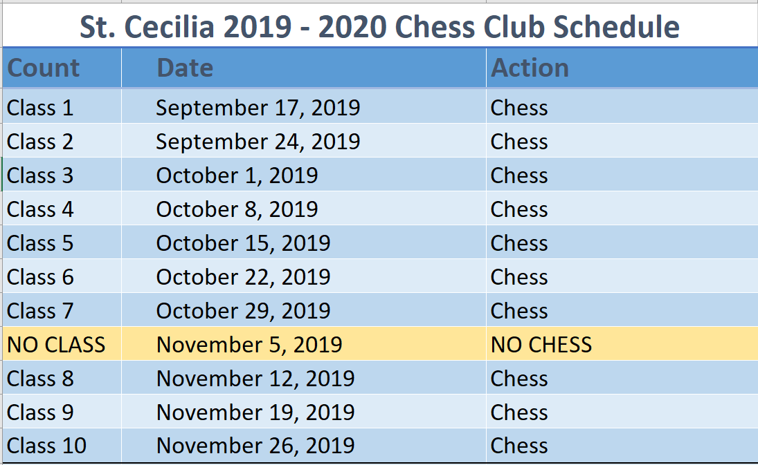St. Cecilia Chess Club Schedule