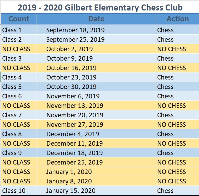 Gilbert Elementary Calendar