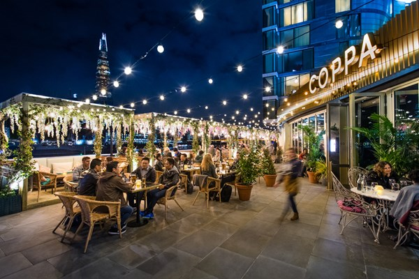 2. Coppa Club - Boasting one of the biggest riverside terraces in London, Coppa Club occupies a prime spot with Tower Bridge in near-sight and The Shard just opposite.