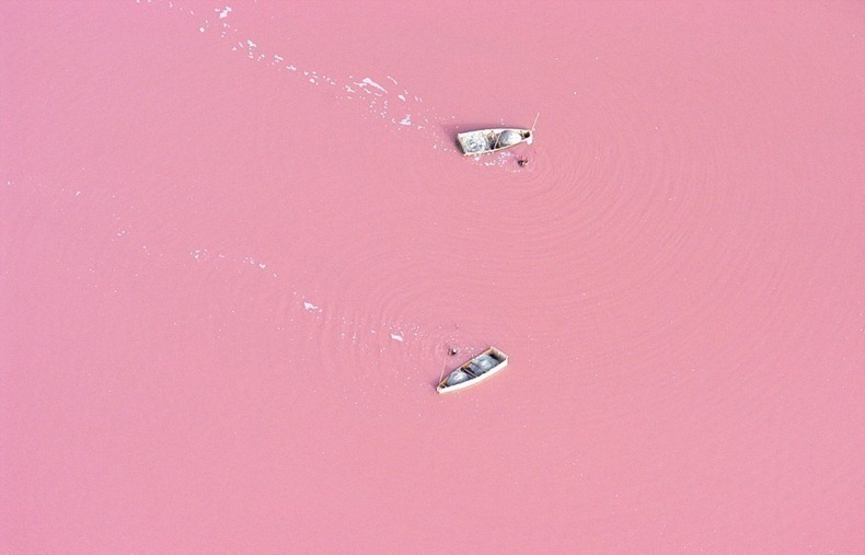 Lake Retba in Senegal, Africa