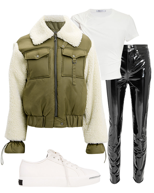 2. The statement shearling - Pair a cozy jacket with a patent leather pant and simple t-shirt for a casual, chic look.