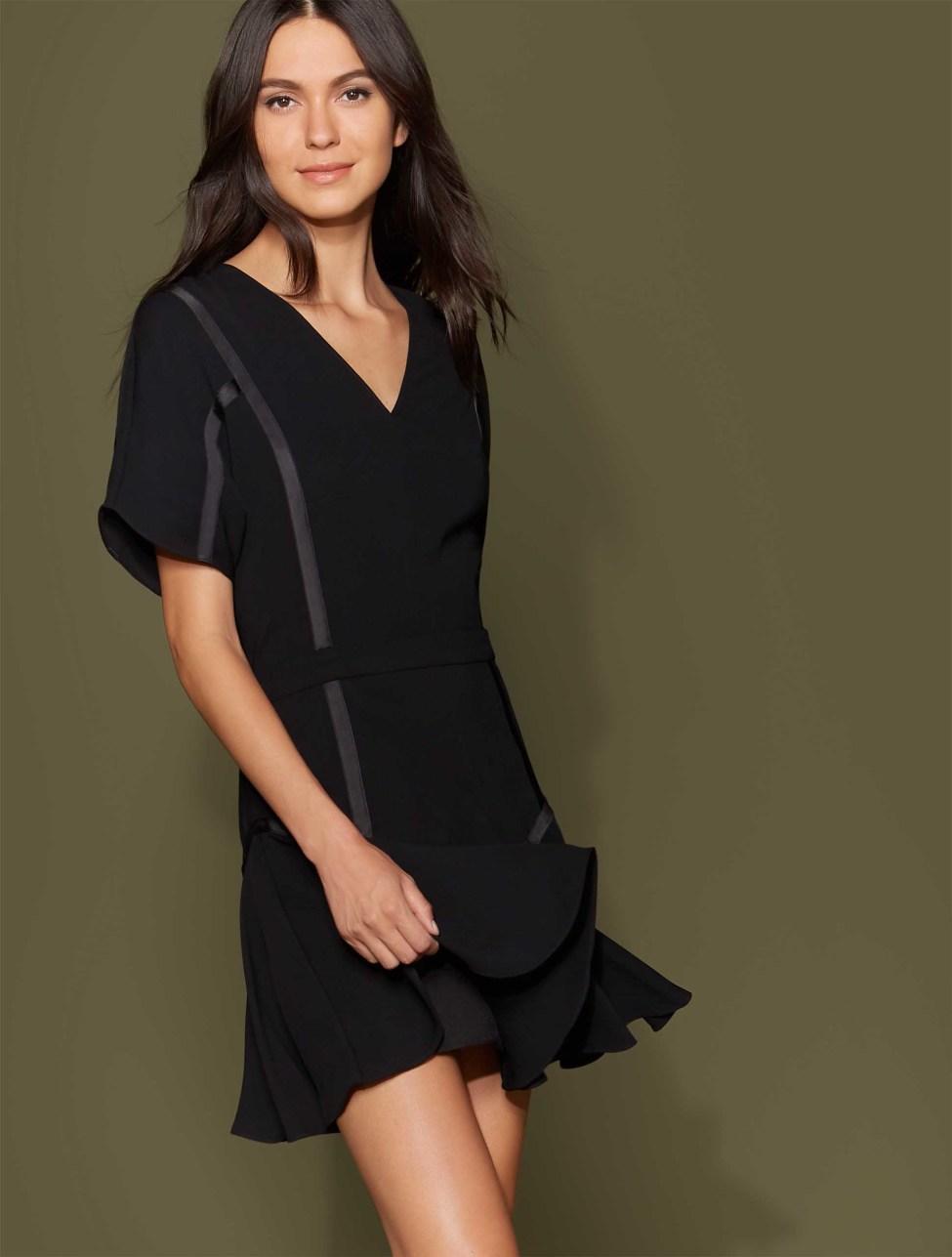Halston Heritage Short Sleeve Tape Detail Flounce Dress, $345