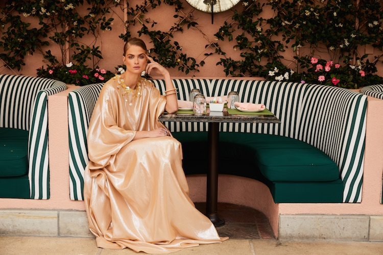 Embellished gold lamé caftan, $2,200, by Molly Moorkamp
