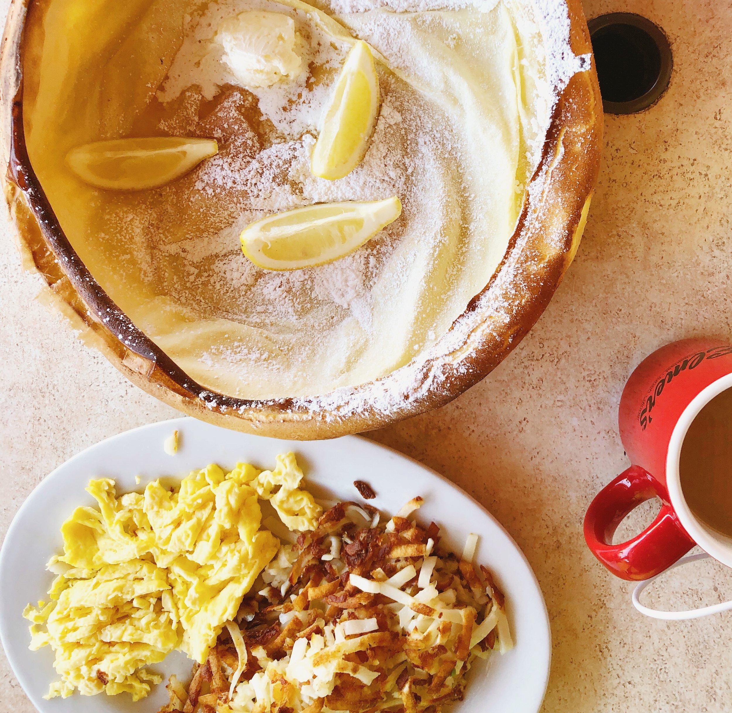 Breakfast at Elmer's featuring that epic German Pancake