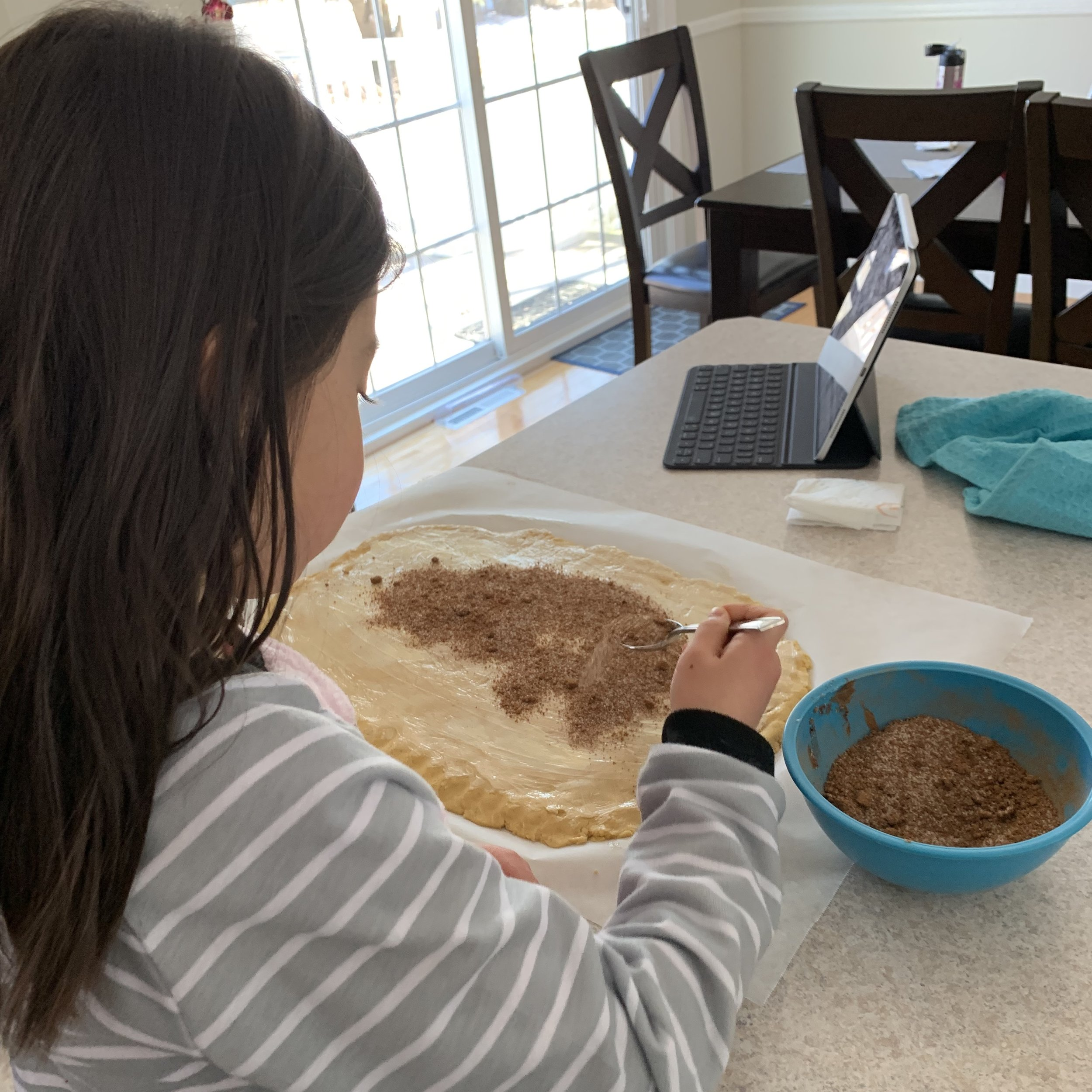 My Cecelia is here to help with the best part of cinnamon rolls- the cinnamon and sugar!
