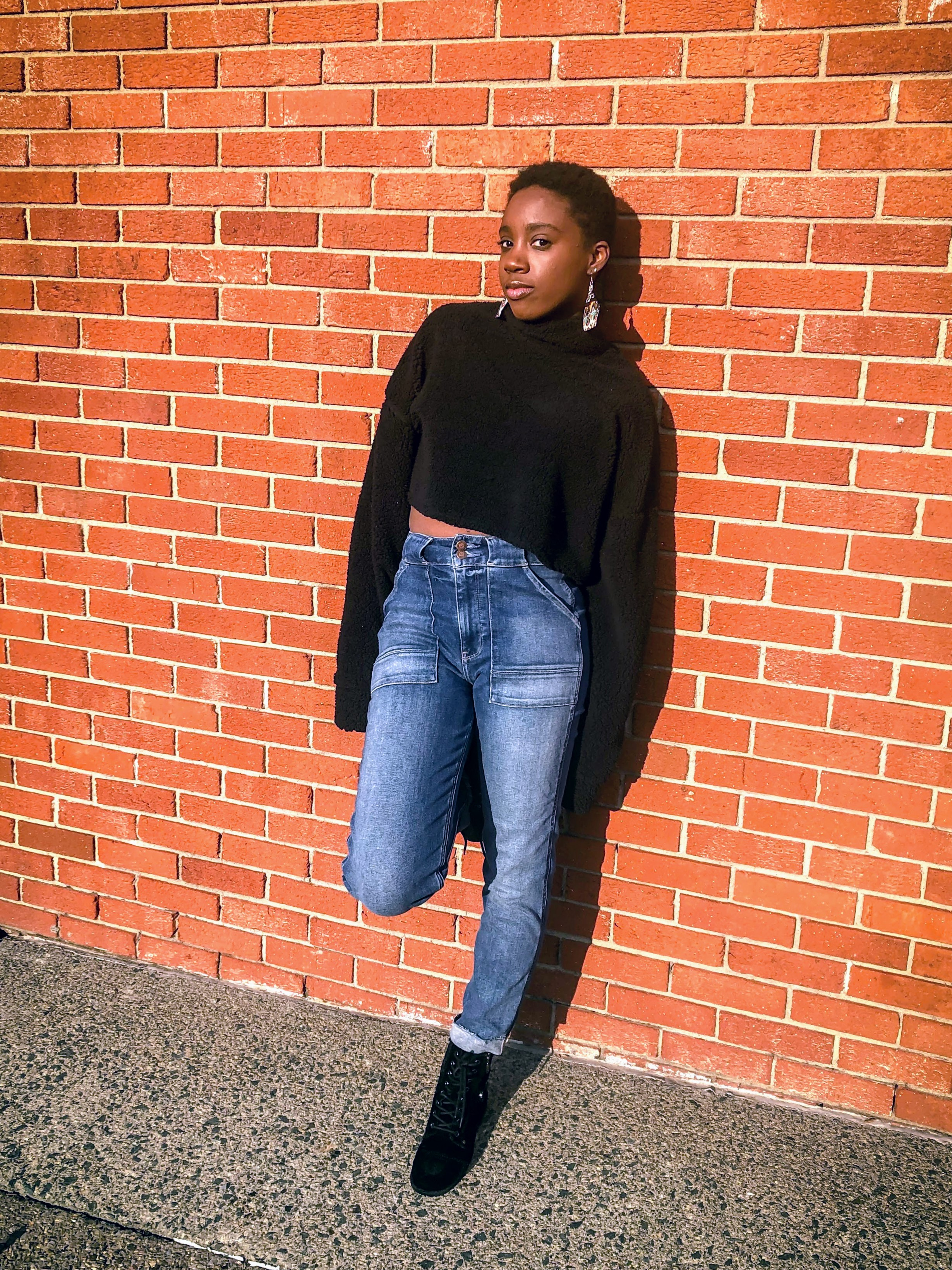 Missguided: Teddy High Neck Cropped Sweater - Hollister Mom JeansGuess Boots