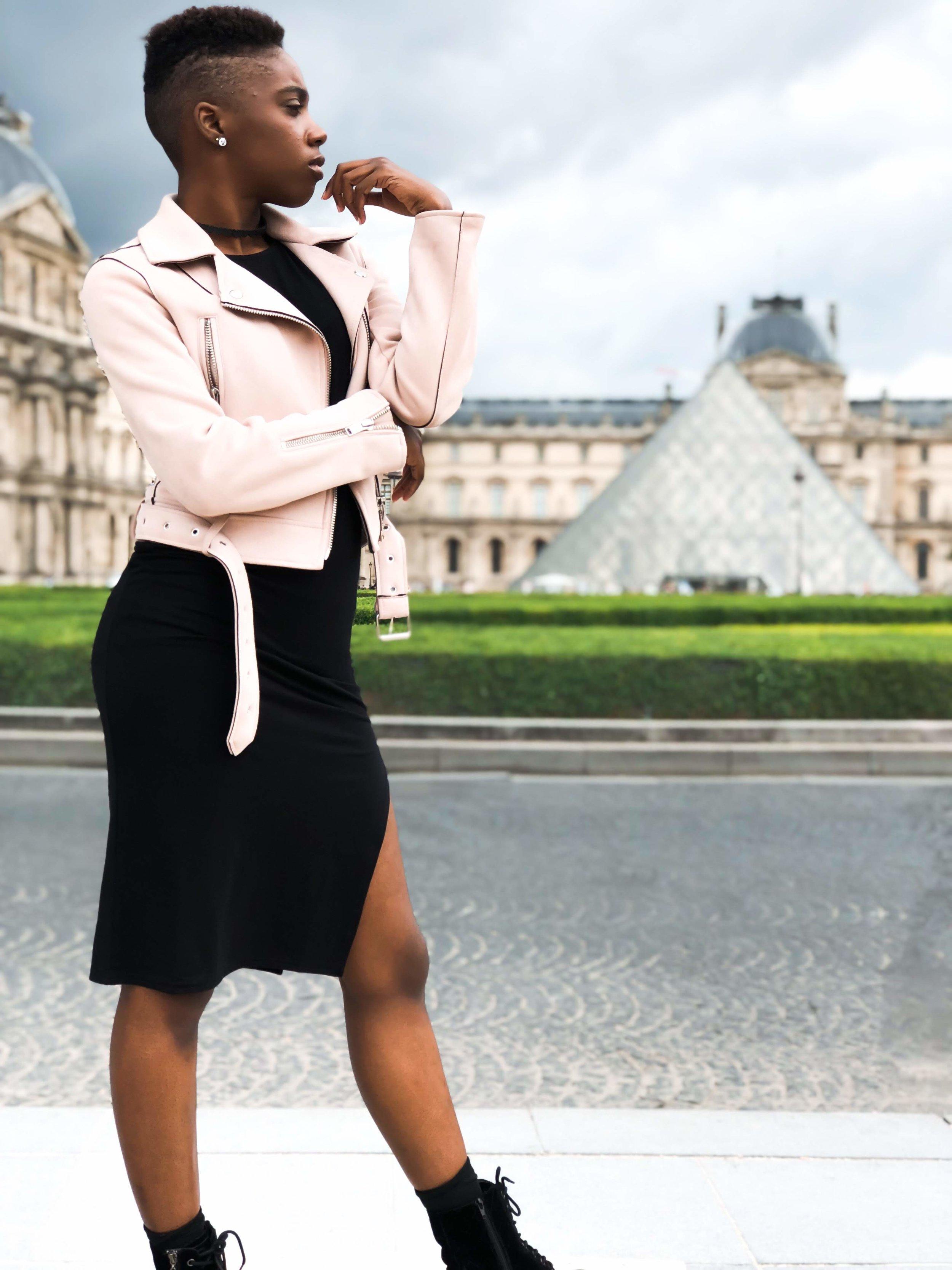 Dress: MissguidedPanda Earrings: Francesca'sChoker: Wet SealBoots: Guess - Zara jacket
