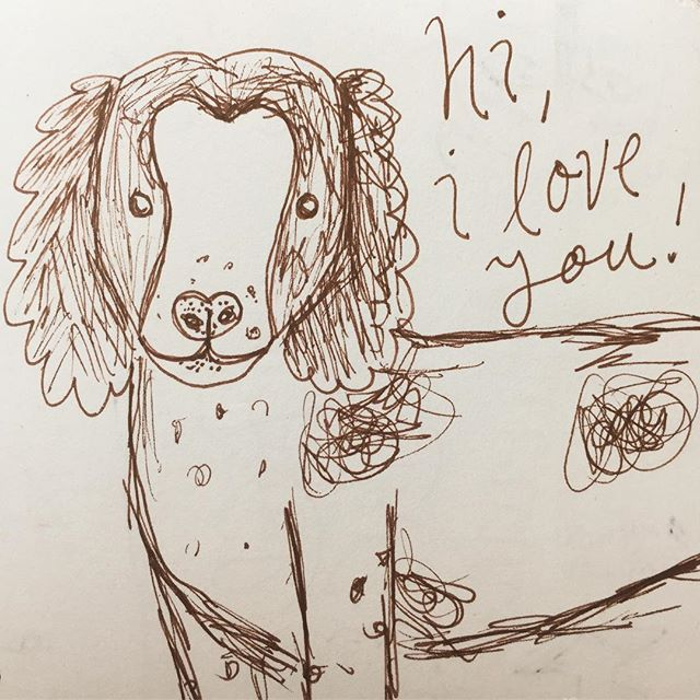a dog doodle from my noodle • • • • #sketchbook #illustration #brittanyspaniel #ballpoint #stabilo #imissmydogs #dogs #doodle #sweetbabyangels #hiiloveyou #thanksforstoppingby