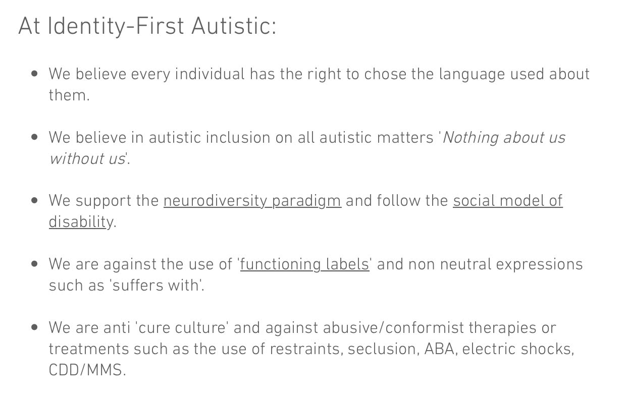 Screen Shot from the Identity-First Autistic Website