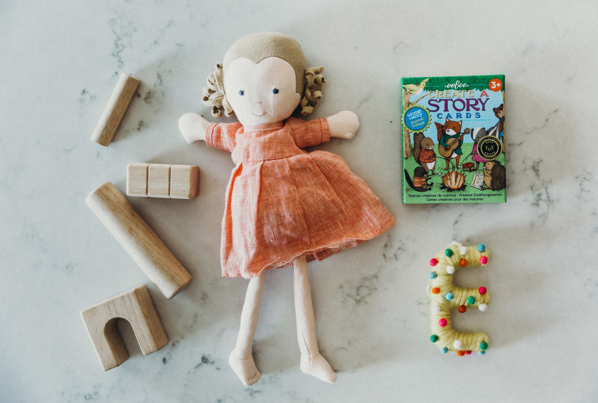 wooden blocks, hazel village doll, create a story cards from wild creek co.